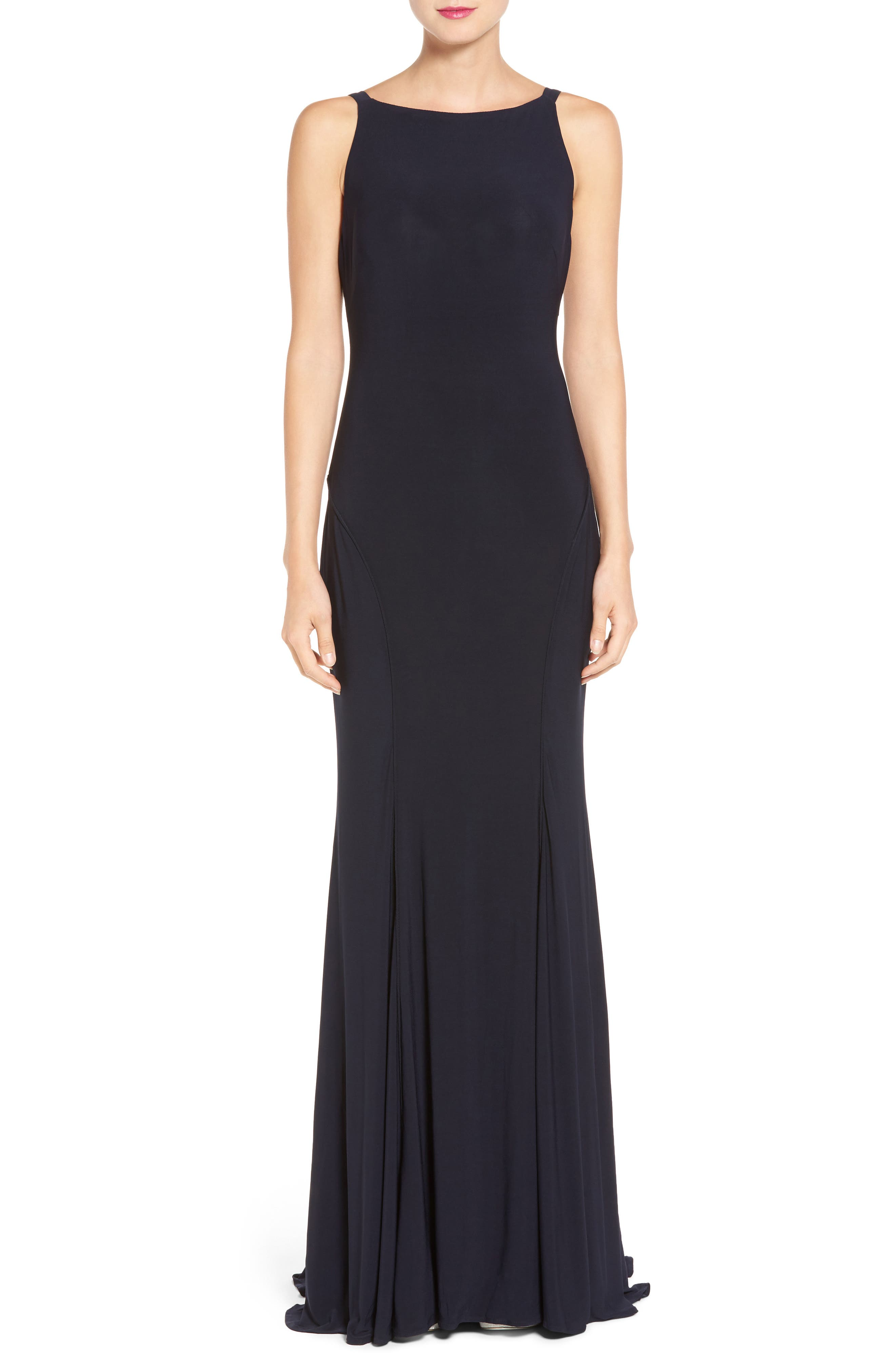 IEENA FOR MAC DUGGAL, Jersey Gown, Main thumbnail 1, color, MIDNIGHT
