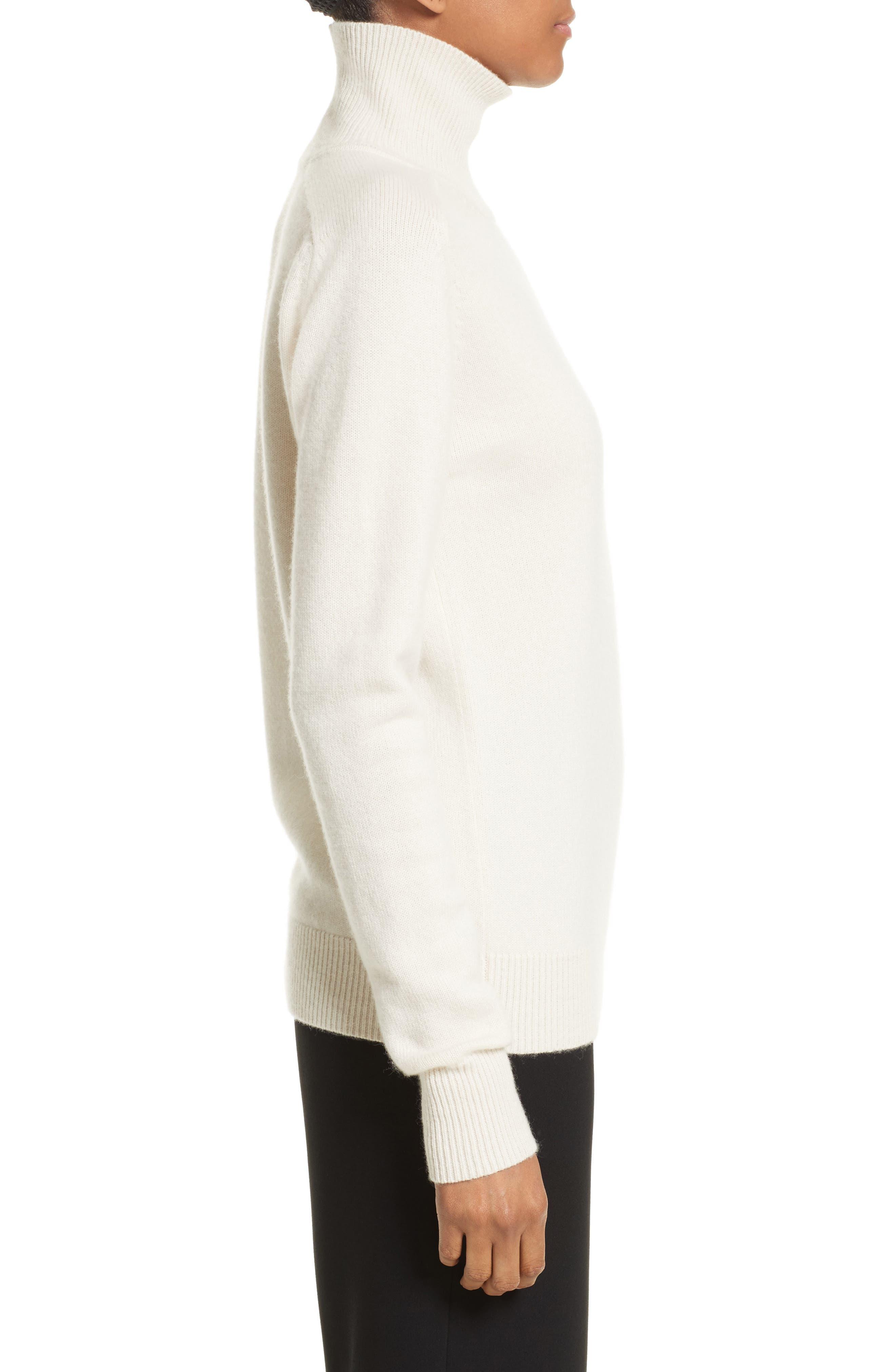 VICTORIA BECKHAM, Cashmere Turtleneck Sweater, Alternate thumbnail 3, color, VANILLA