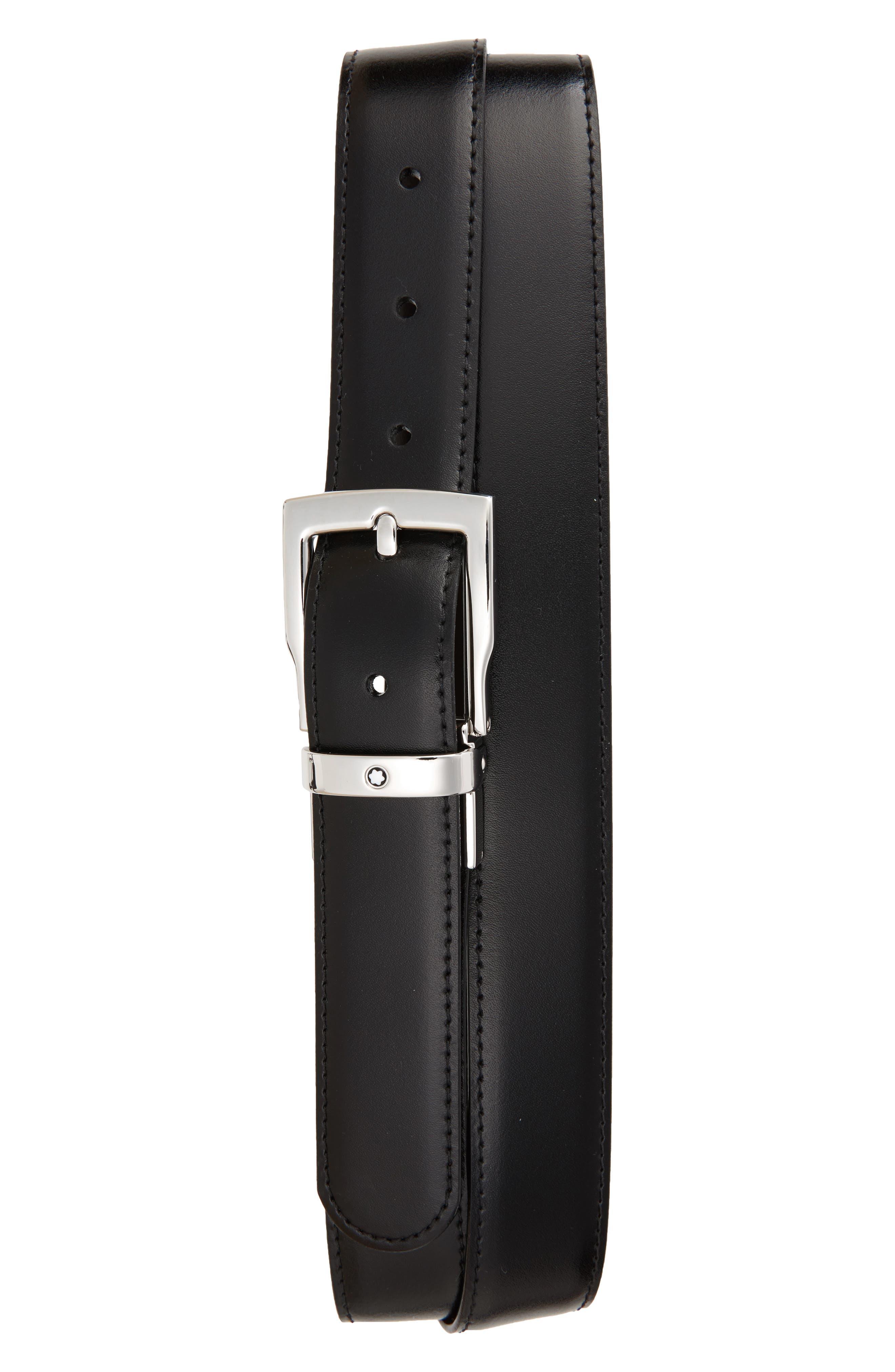 MONTBLANC, Square Buckle Reversible Leather Belt, Main thumbnail 1, color, BLACK/ BROWN