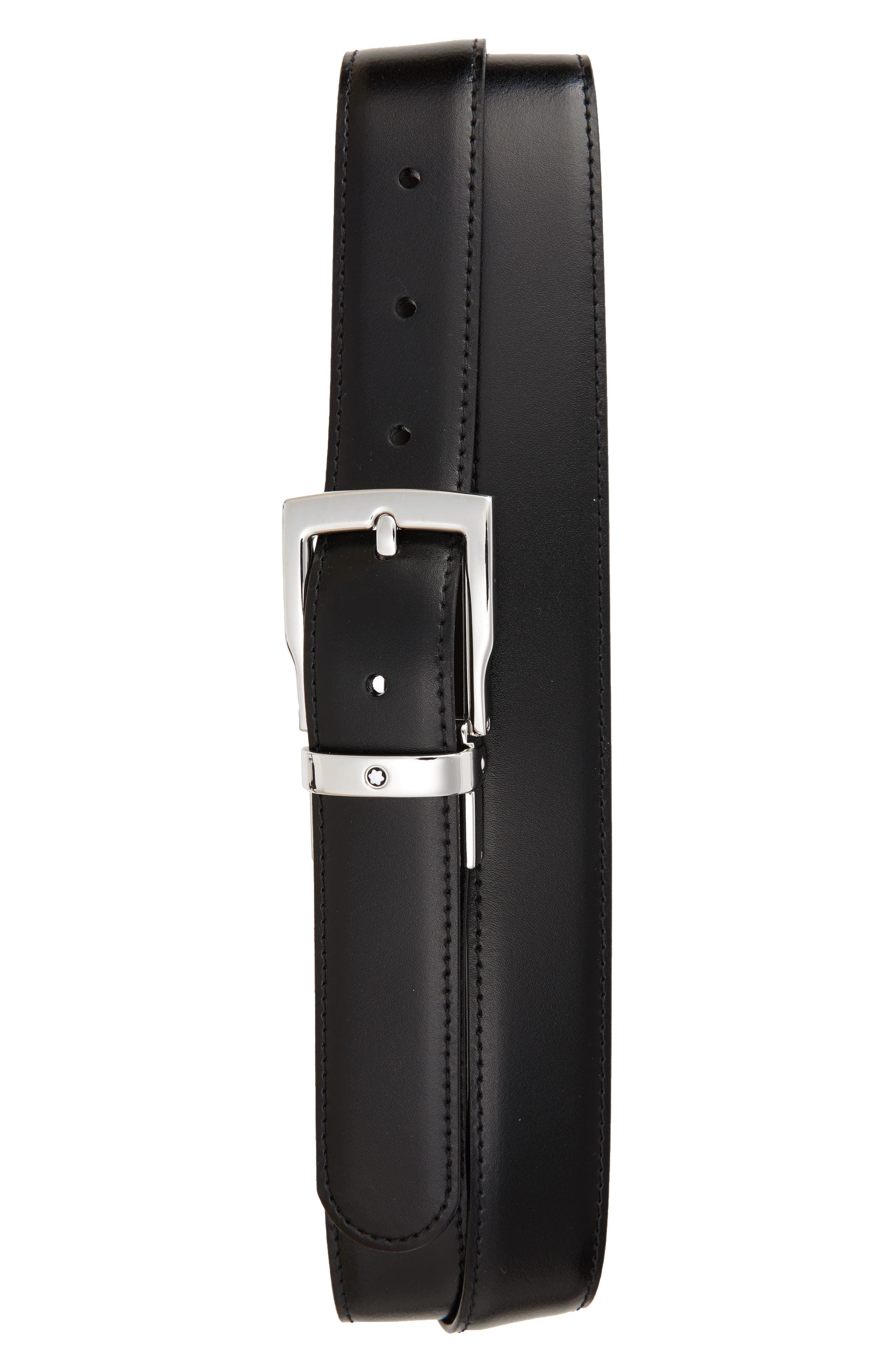 MONTBLANC Square Buckle Reversible Leather Belt, Main, color, BLACK/ BROWN