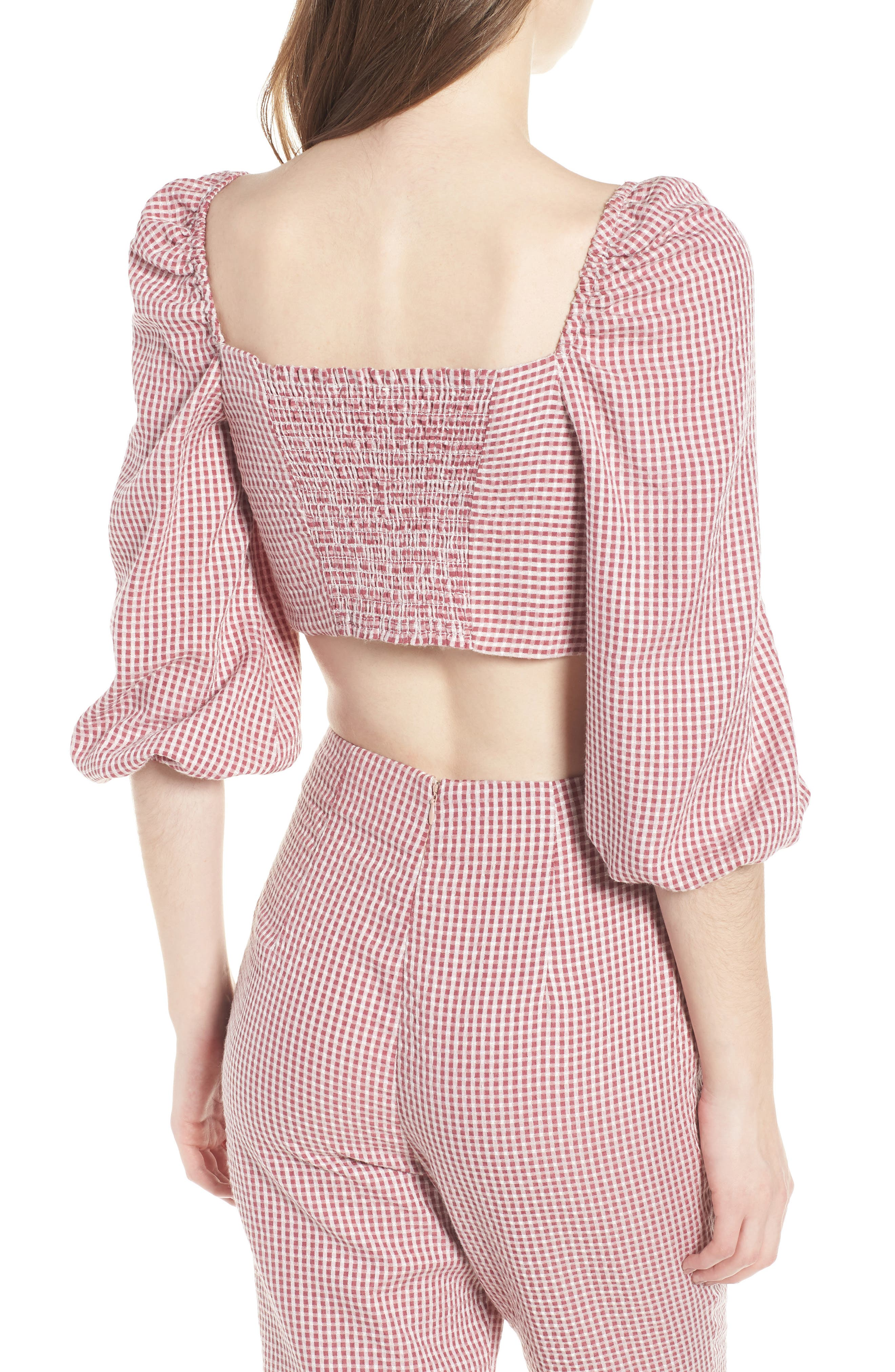 WAYF, Digby Tie Front Crop Top, Alternate thumbnail 2, color, 600