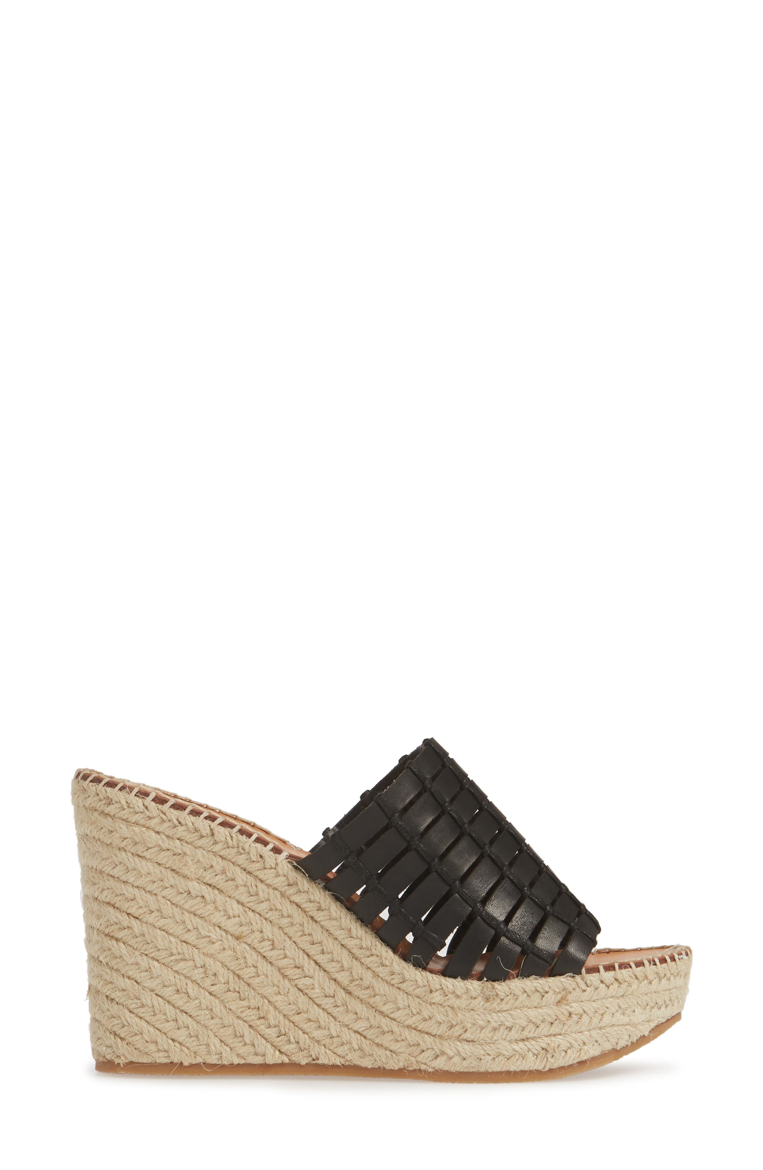 DOLCE VITA, Prue Espadrille Wedge Slide Sandal, Alternate thumbnail 3, color, BLACK LEATHER