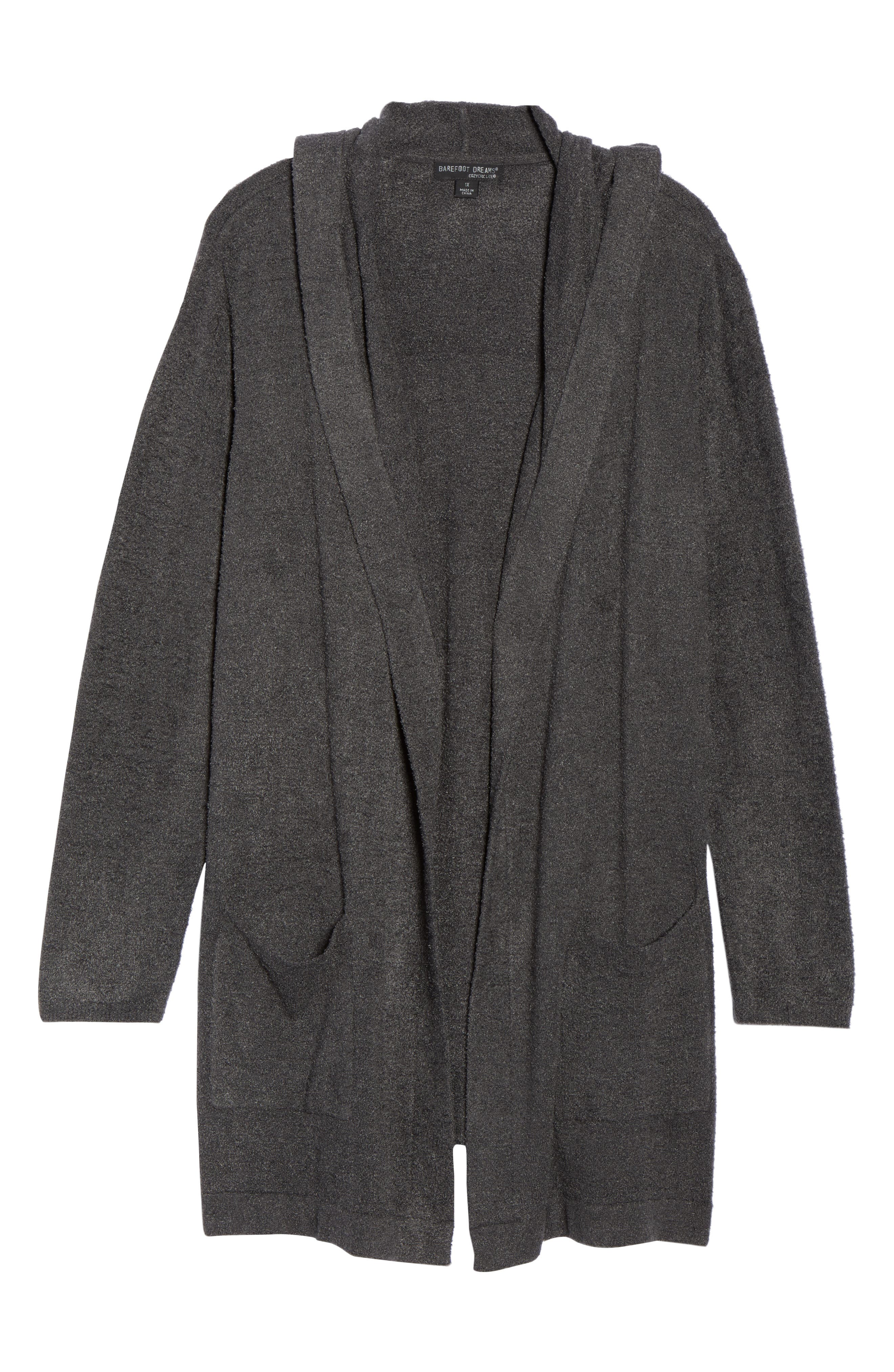 BAREFOOT DREAMS<SUP>®</SUP>, Cozychic Lite<sup>®</sup> Coastal Hooded Cardigan, Alternate thumbnail 6, color, CARBON