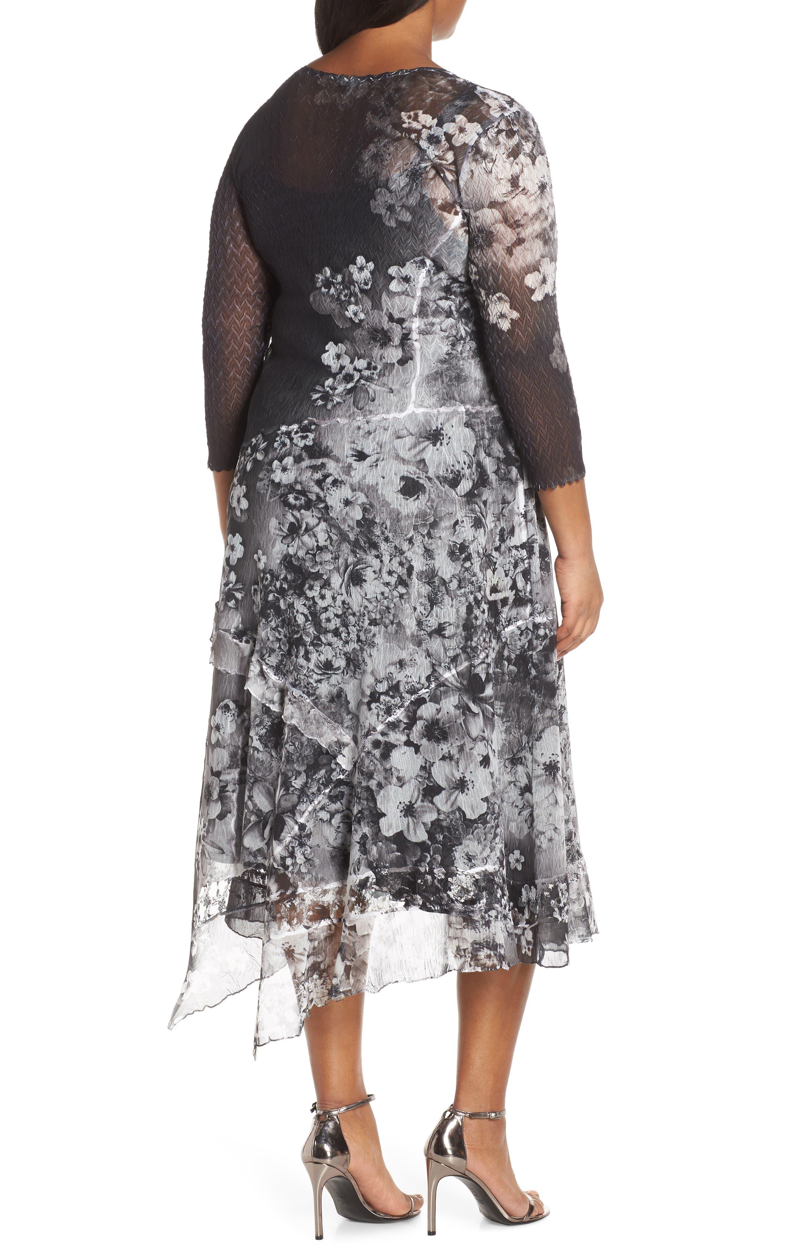 KOMAROV, Handkerchief Hem Cocktail Dress, Alternate thumbnail 2, color, MOONLIGHT BLOOM