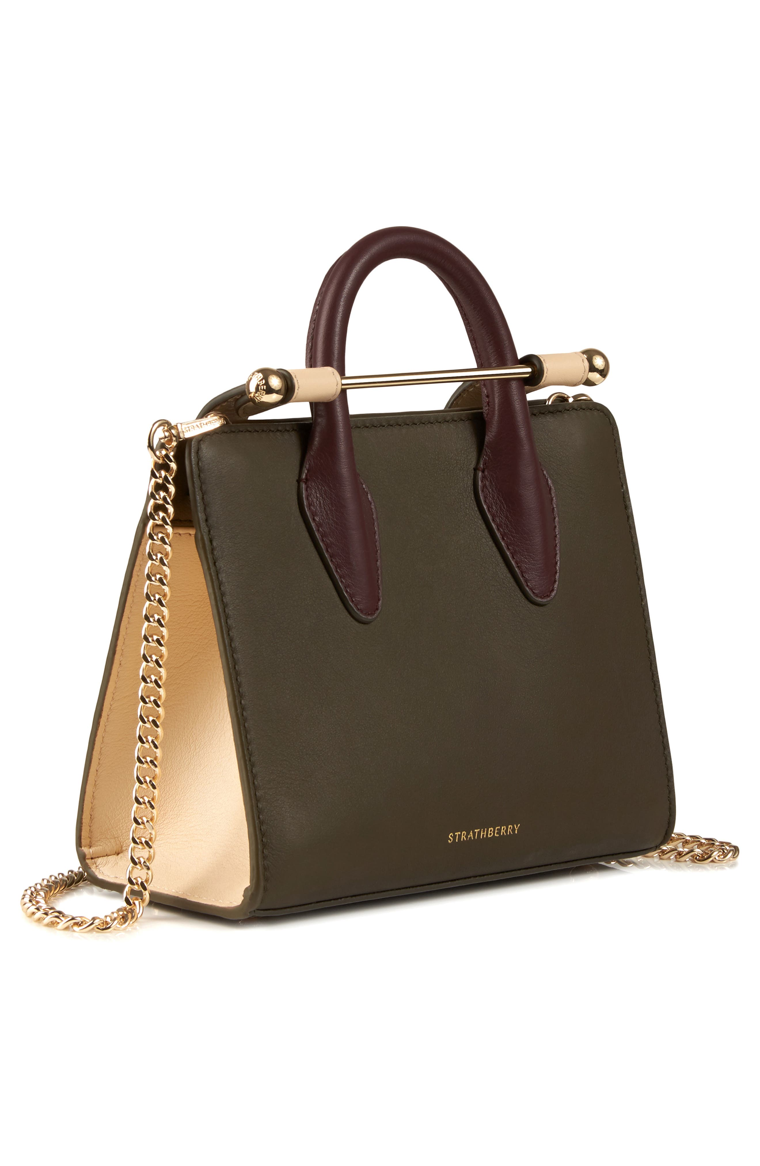 STRATHBERRY, Nano Tricolor Leather Satchel, Alternate thumbnail 4, color, FOREST/ SAND/ BURGUNDY