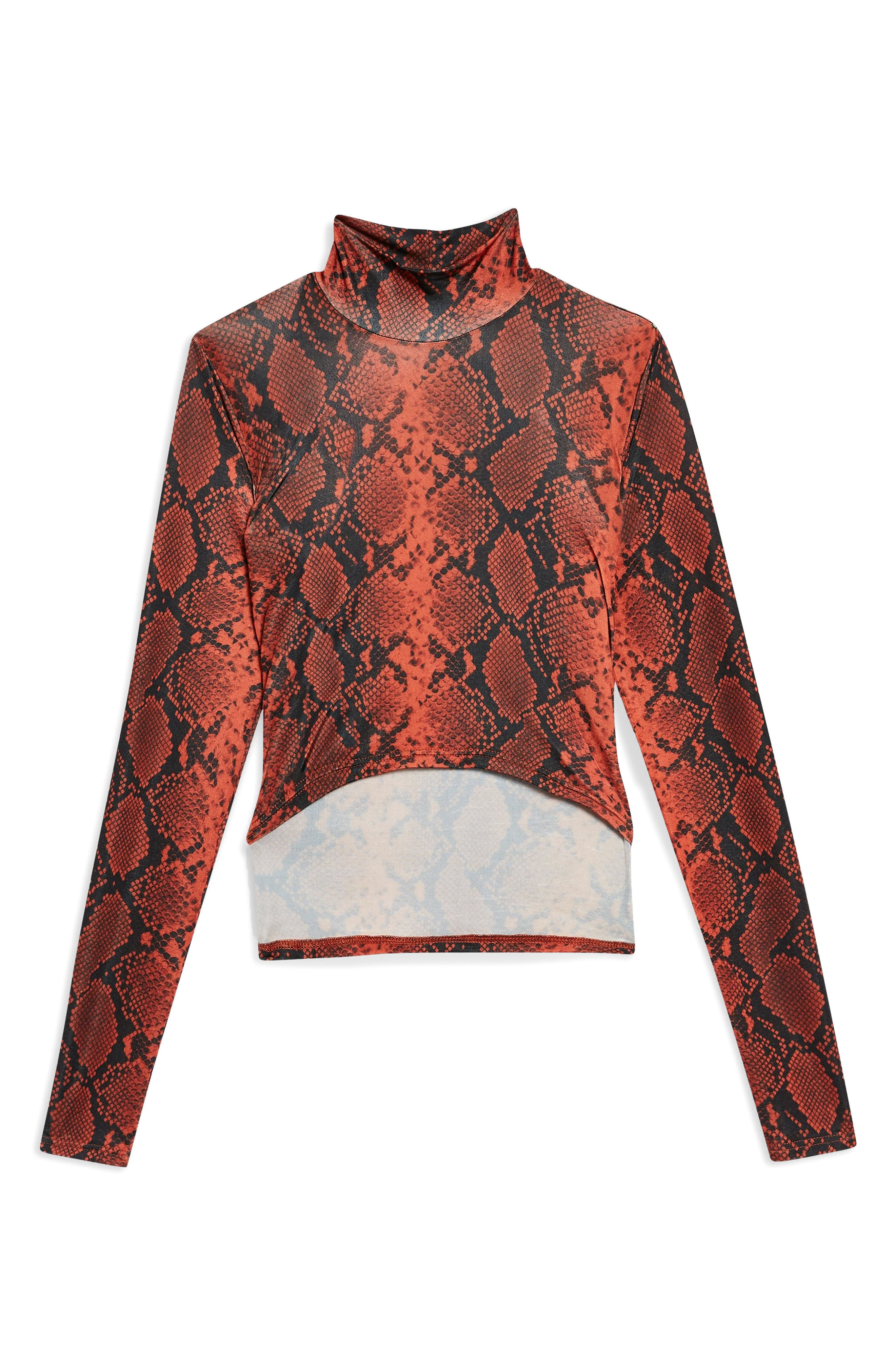 TOPSHOP, Snake Print Wrap High Neck Top, Alternate thumbnail 4, color, 600