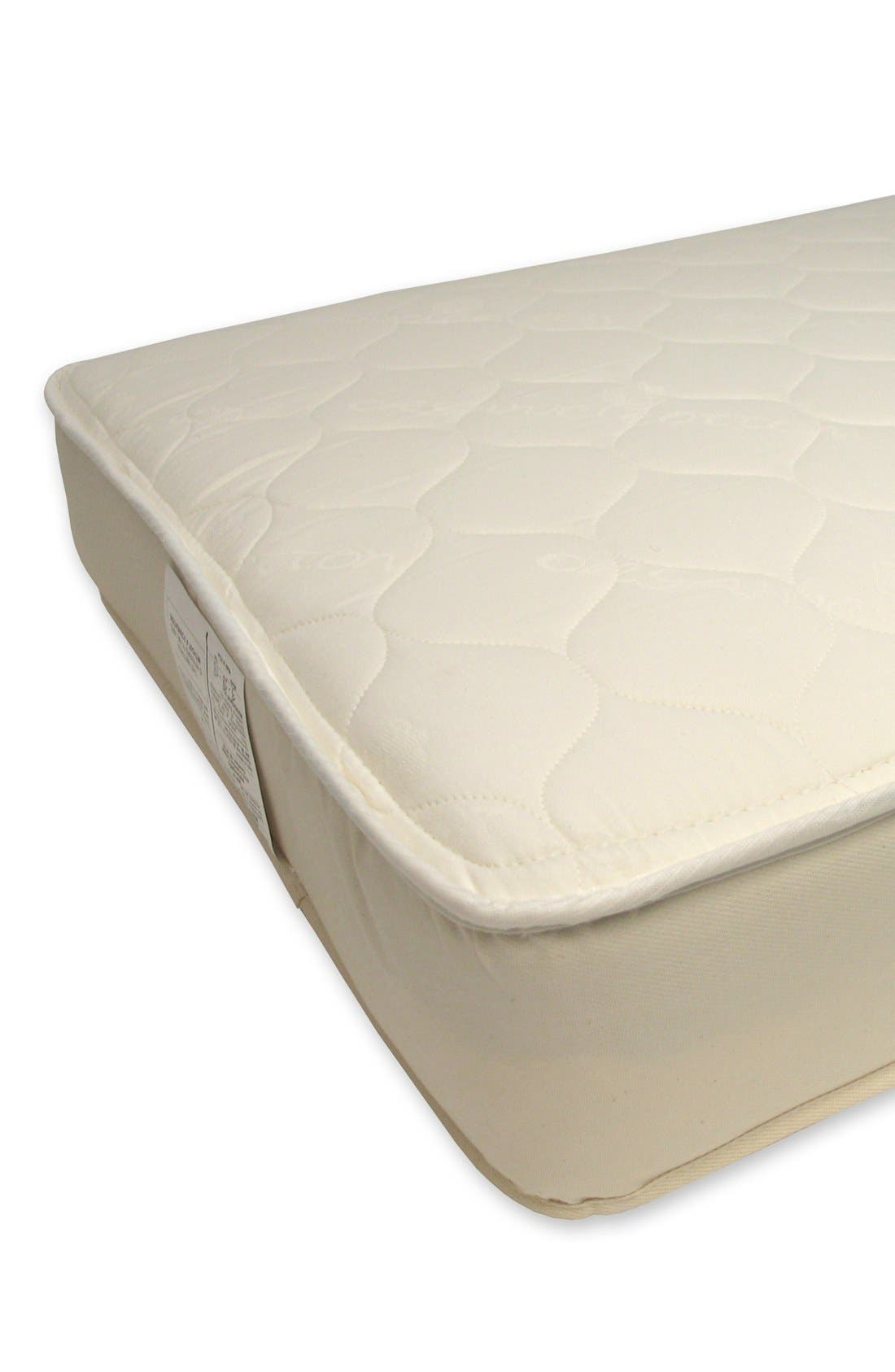 NATUREPEDIC, '252' Organic Cotton 2-in-1 Ultra/Quilted Crib Mattress, Alternate thumbnail 4, color, NATURAL