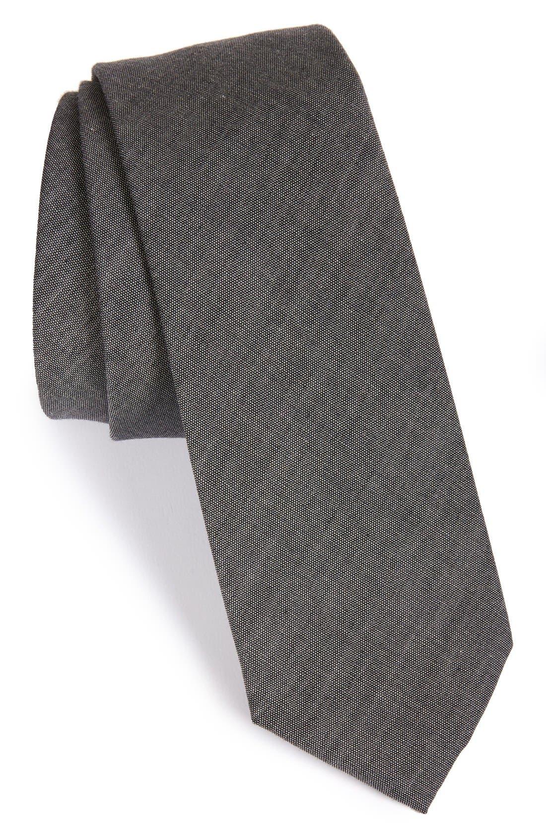 THE TIE BAR, Cotton Tie, Main thumbnail 1, color, WARM GREY