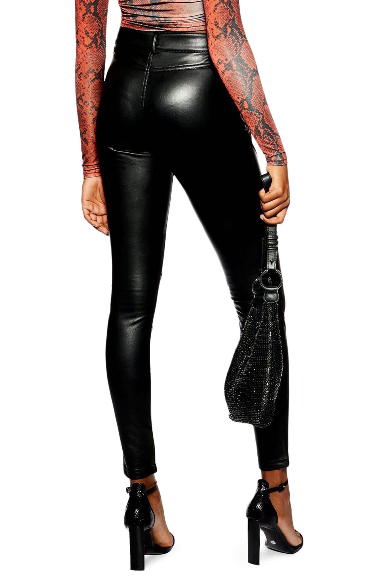 TOPSHOP, Faux Leather Skinny Biker Pants, Alternate thumbnail 2, color, BLACK
