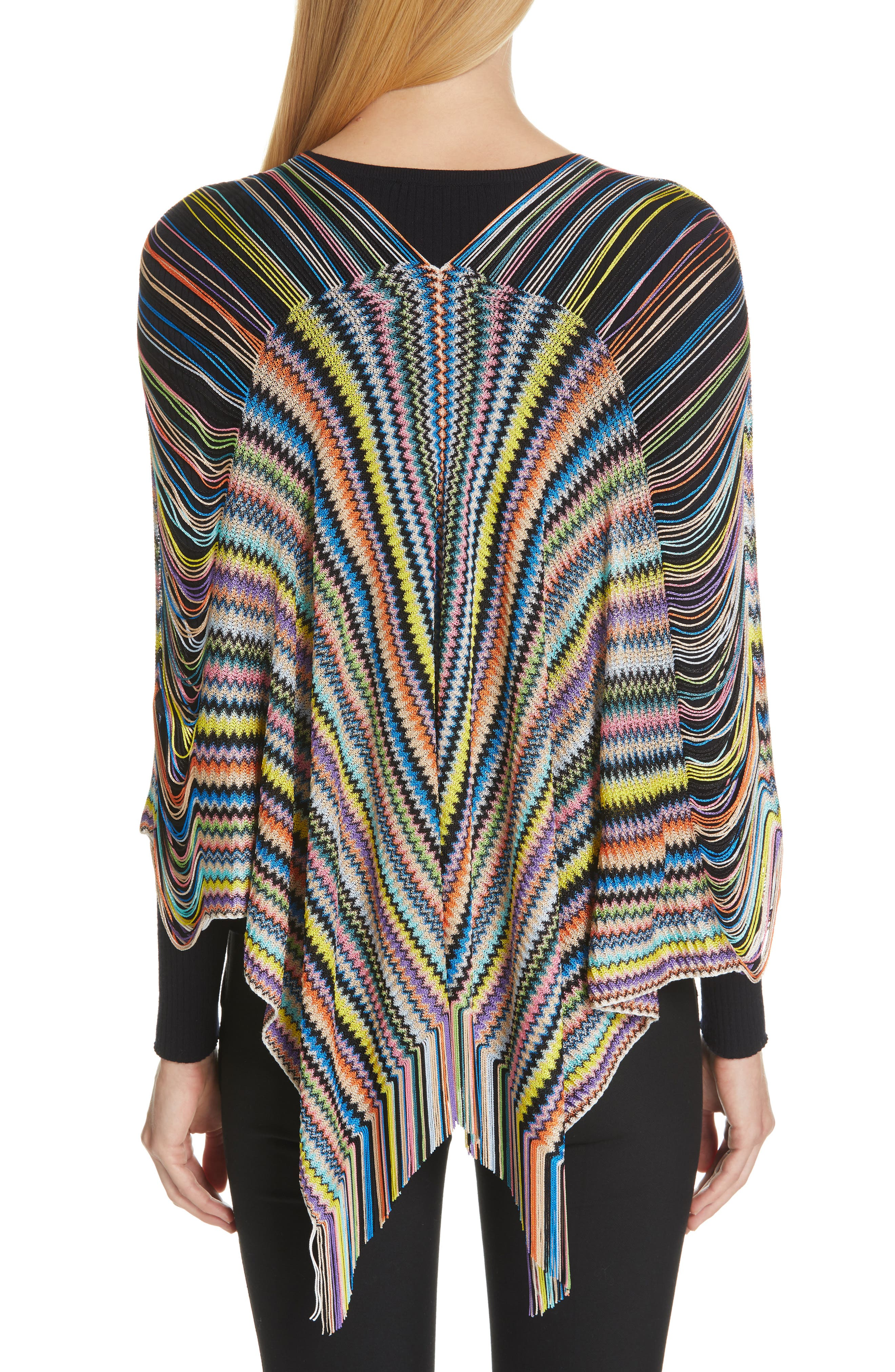 MISSONI, Open Weave Shoulder Poncho, Alternate thumbnail 2, color, DANDELION
