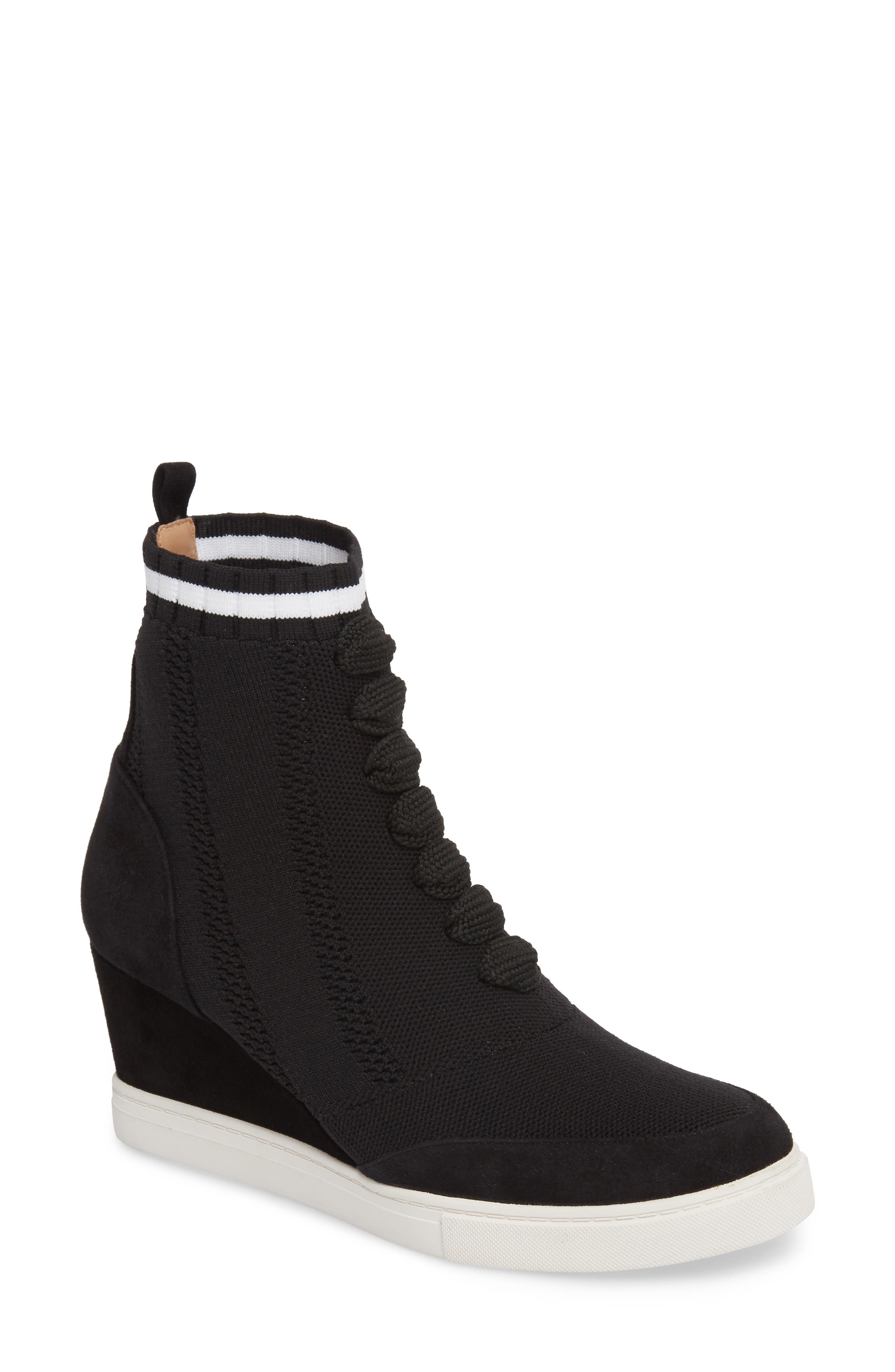 LINEA PAOLO, Fabiana Wedge Sneaker, Main thumbnail 1, color, BLACK SUEDE