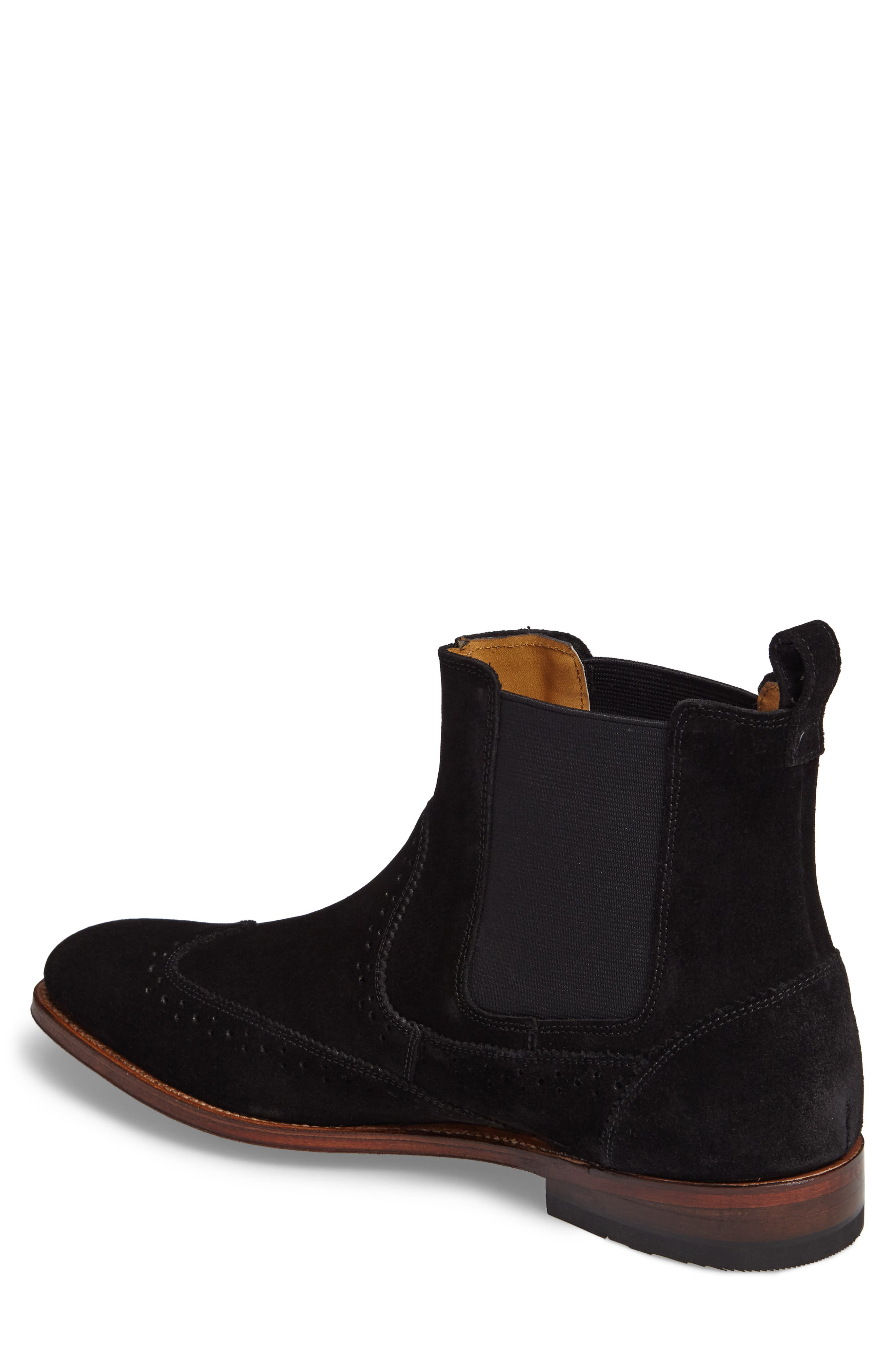 STACY ADAMS, Madison II Wingtip Chelsea Boot, Alternate thumbnail 2, color, BLACK SUEDE
