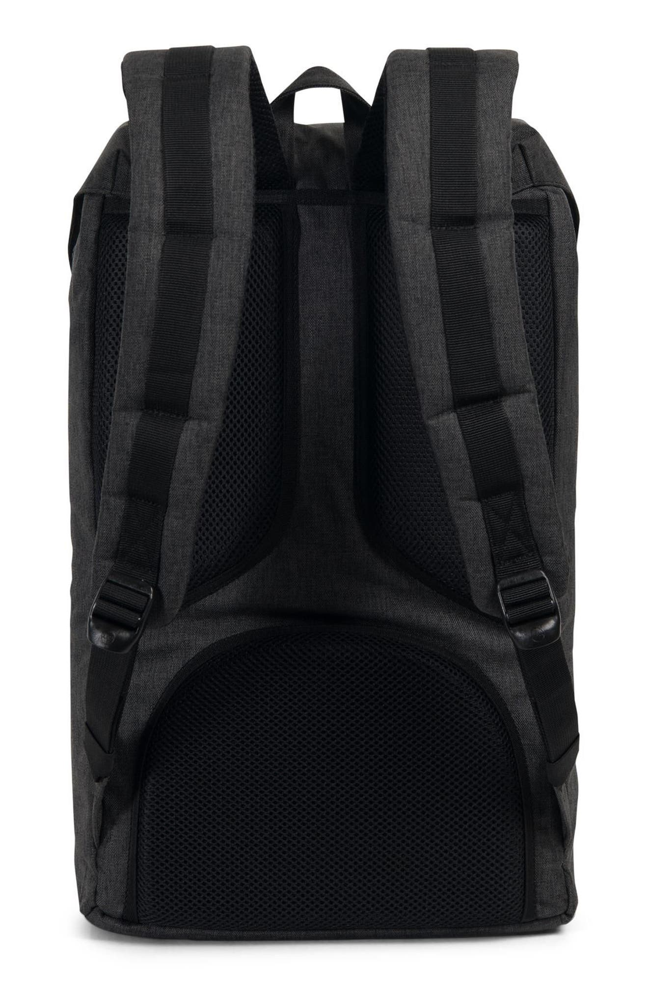 HERSCHEL SUPPLY CO., Little America Backpack, Alternate thumbnail 4, color, BLACK CROSSHATCH/ BLACK RUBBER