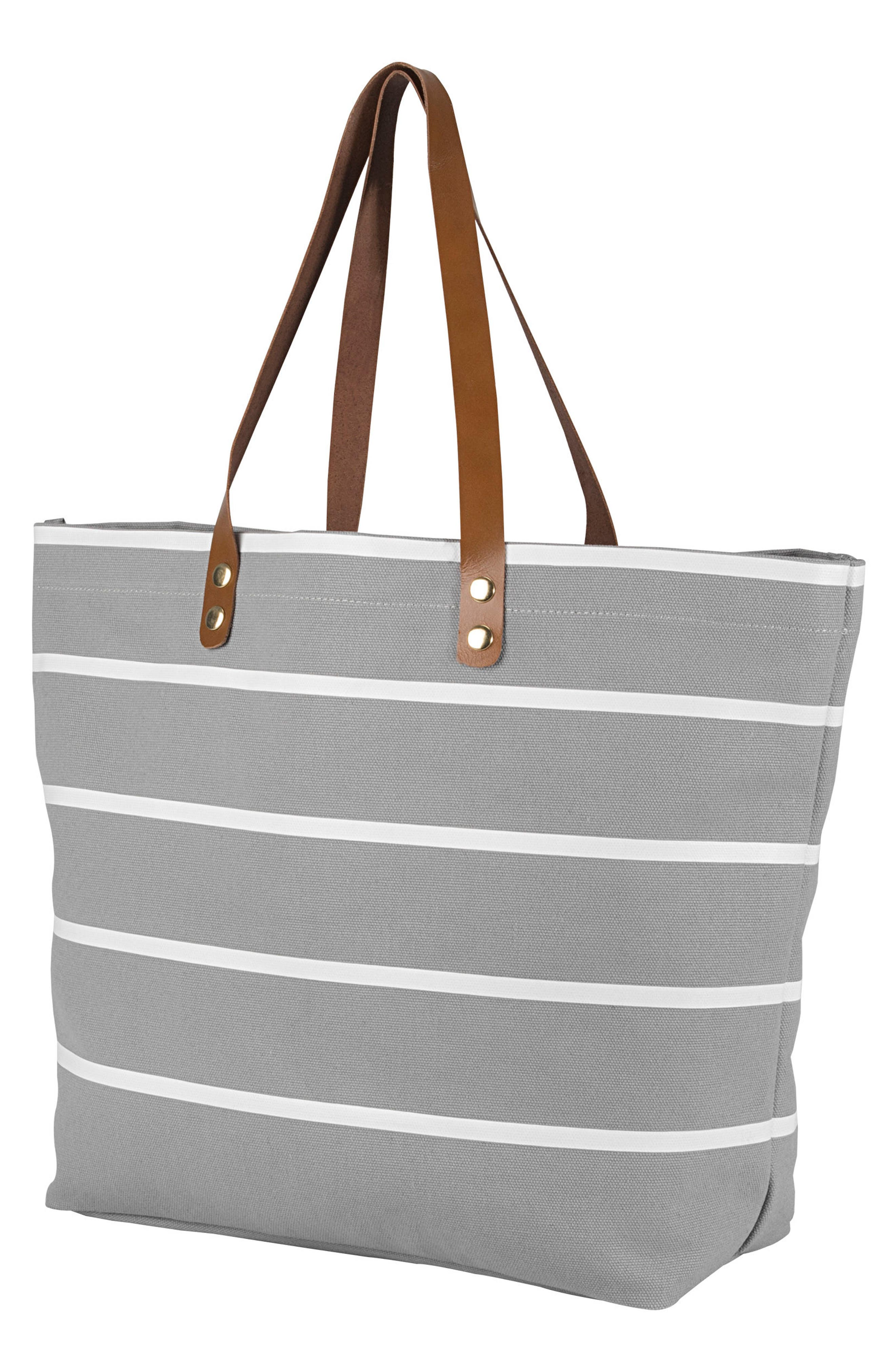 CATHY'S CONCEPTS Monogram Large Canvas Tote, Main, color, GREY