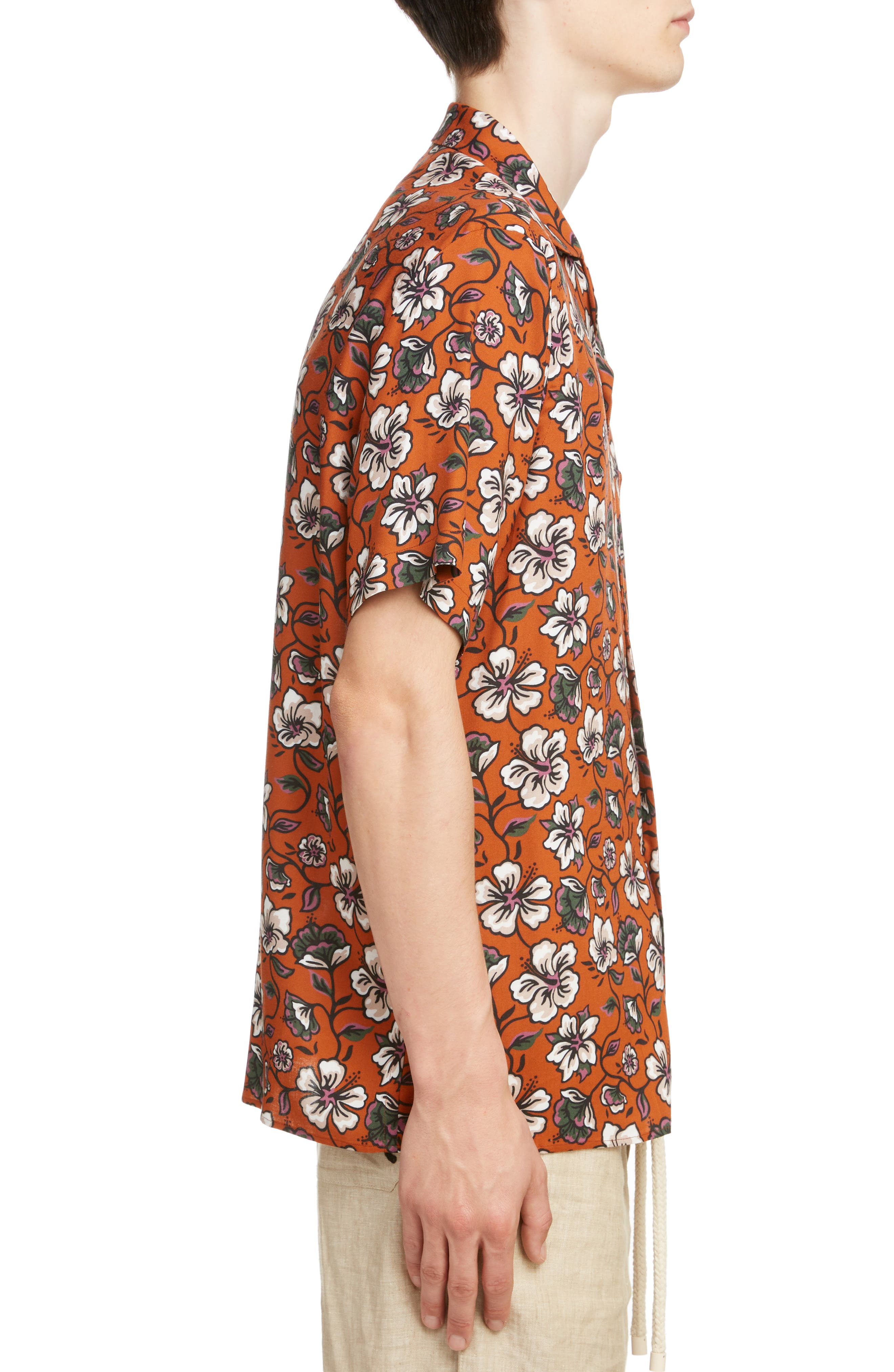LOEWE, Floral Print Camp Shirt, Alternate thumbnail 4, color, 2103-WHITE/ BROWN