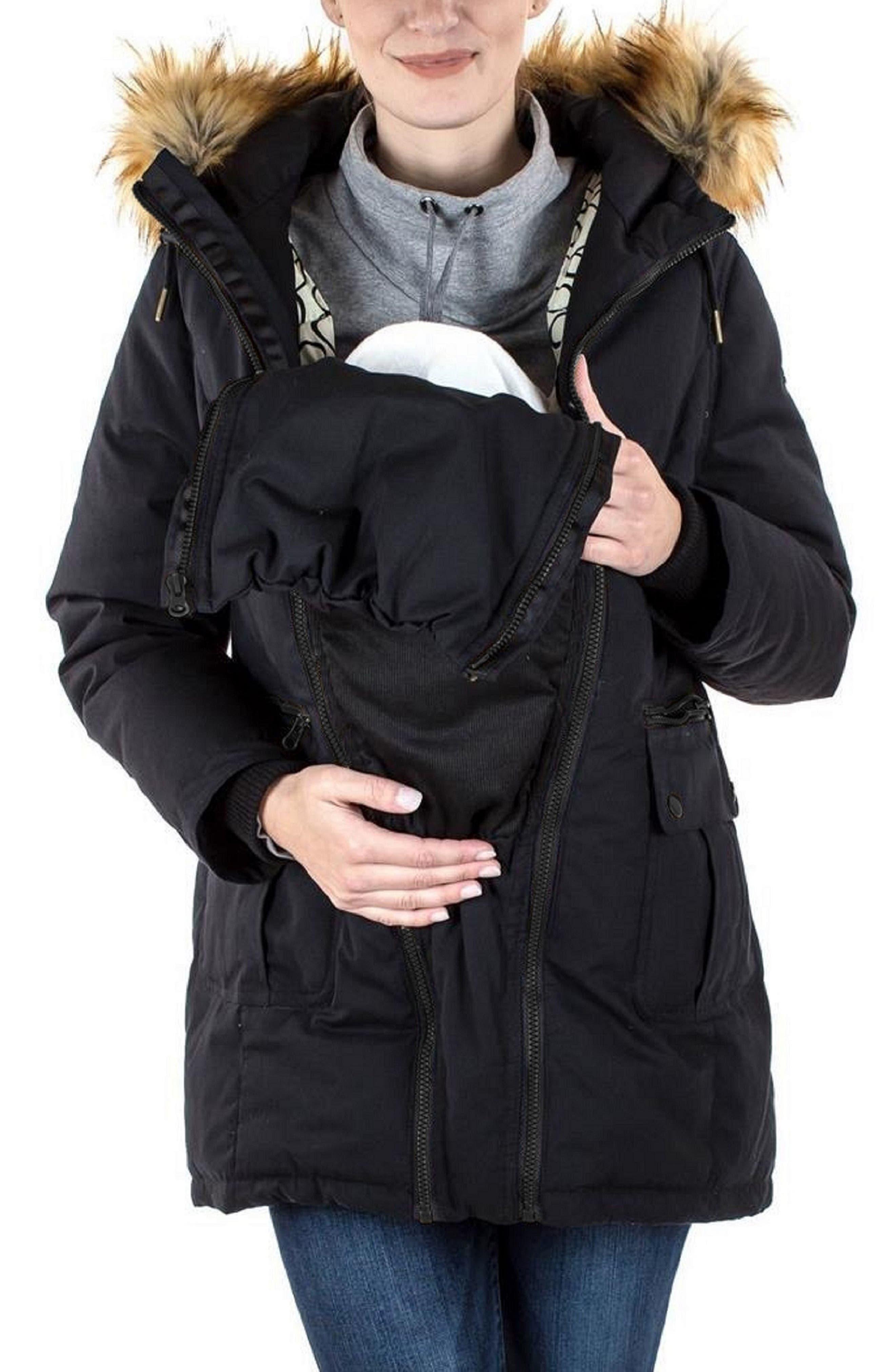 MODERN ETERNITY, Convertible Down 3-in-1 Maternity Jacket, Alternate thumbnail 2, color, BLACK