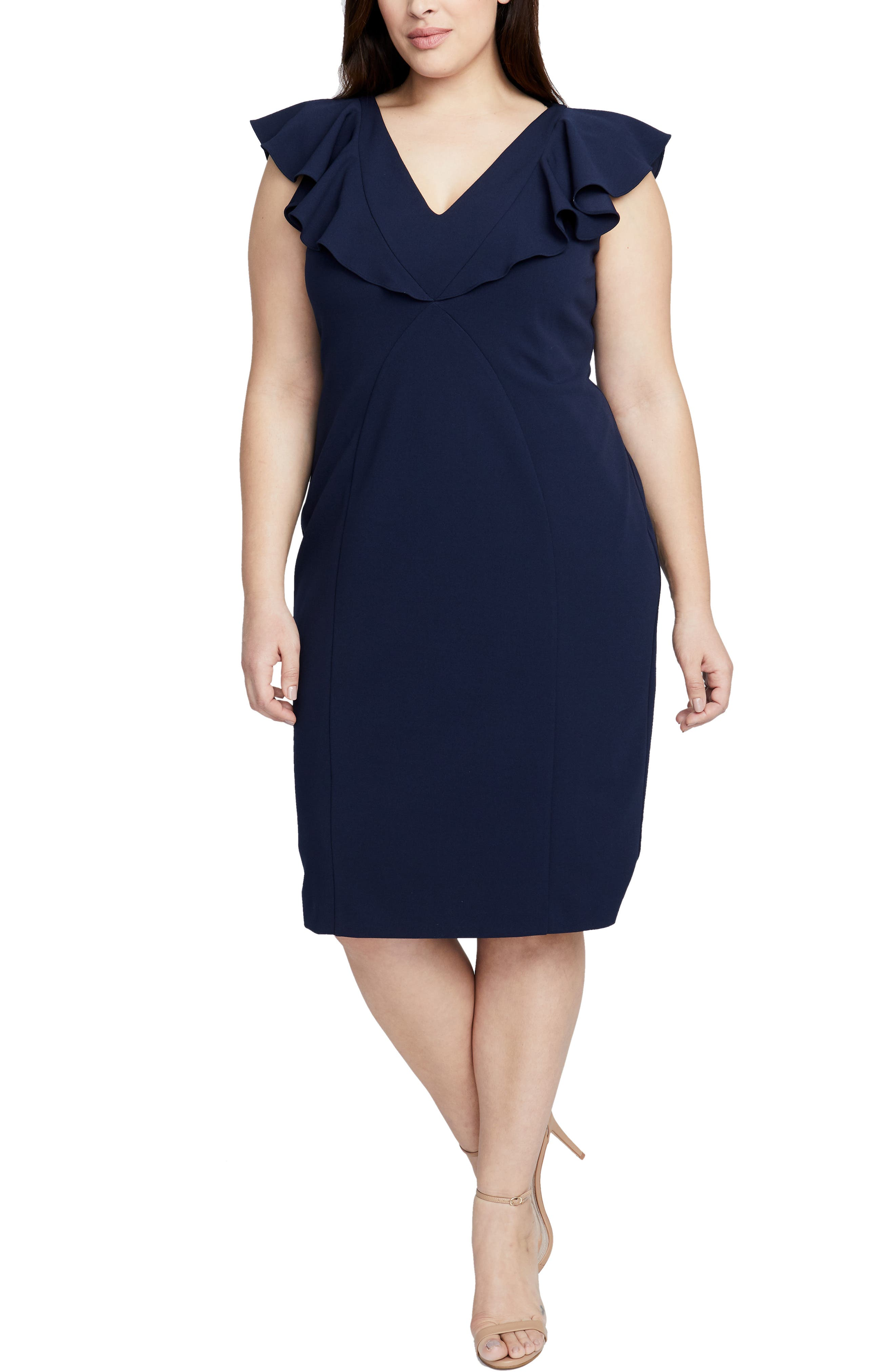 Plus Size Rachel Rachel Roy Ruffle Sheath Dress, Blue