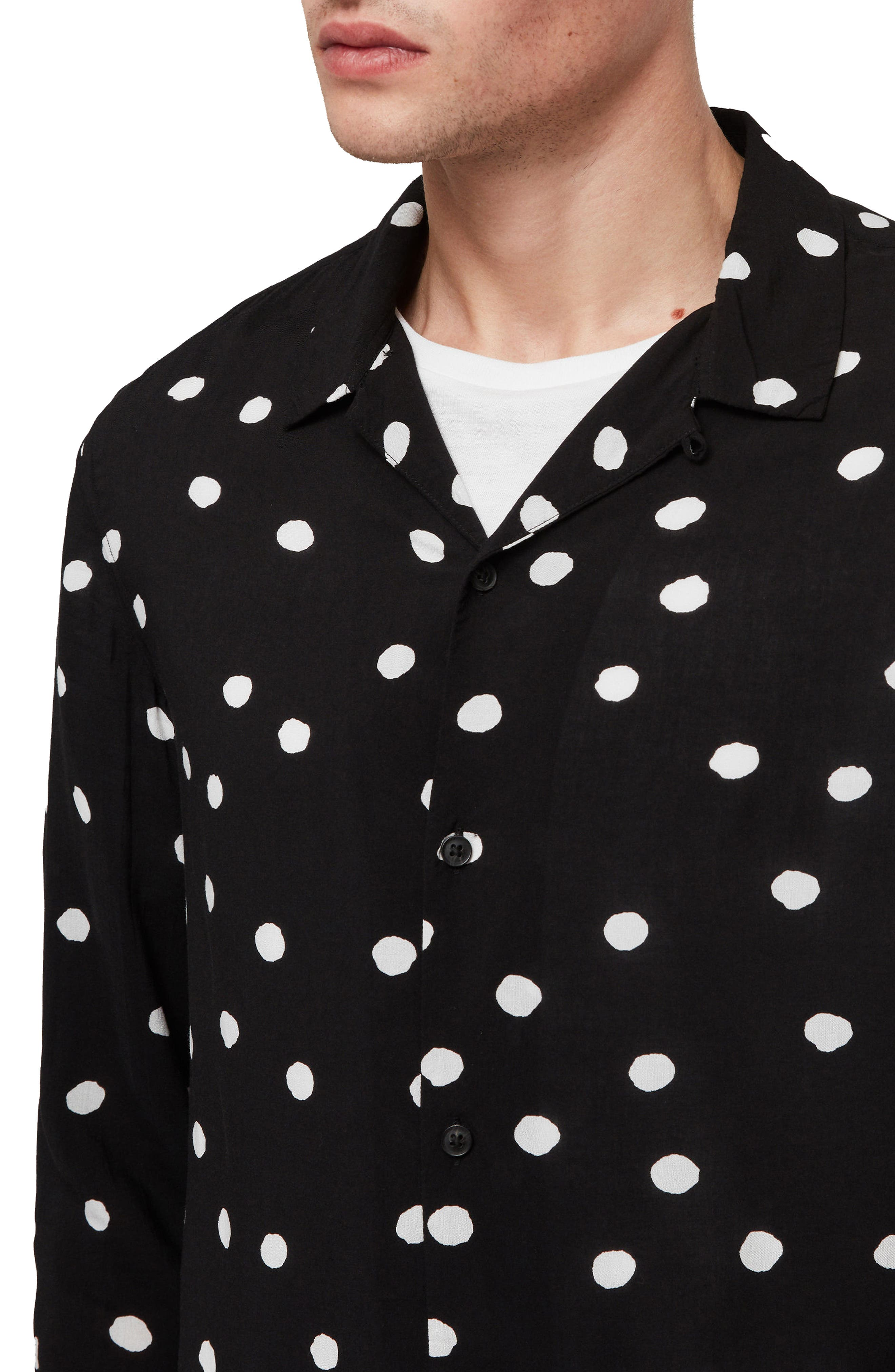 ALLSAINTS, Pozere Polka Dot Sport Shirt, Alternate thumbnail 2, color, 001