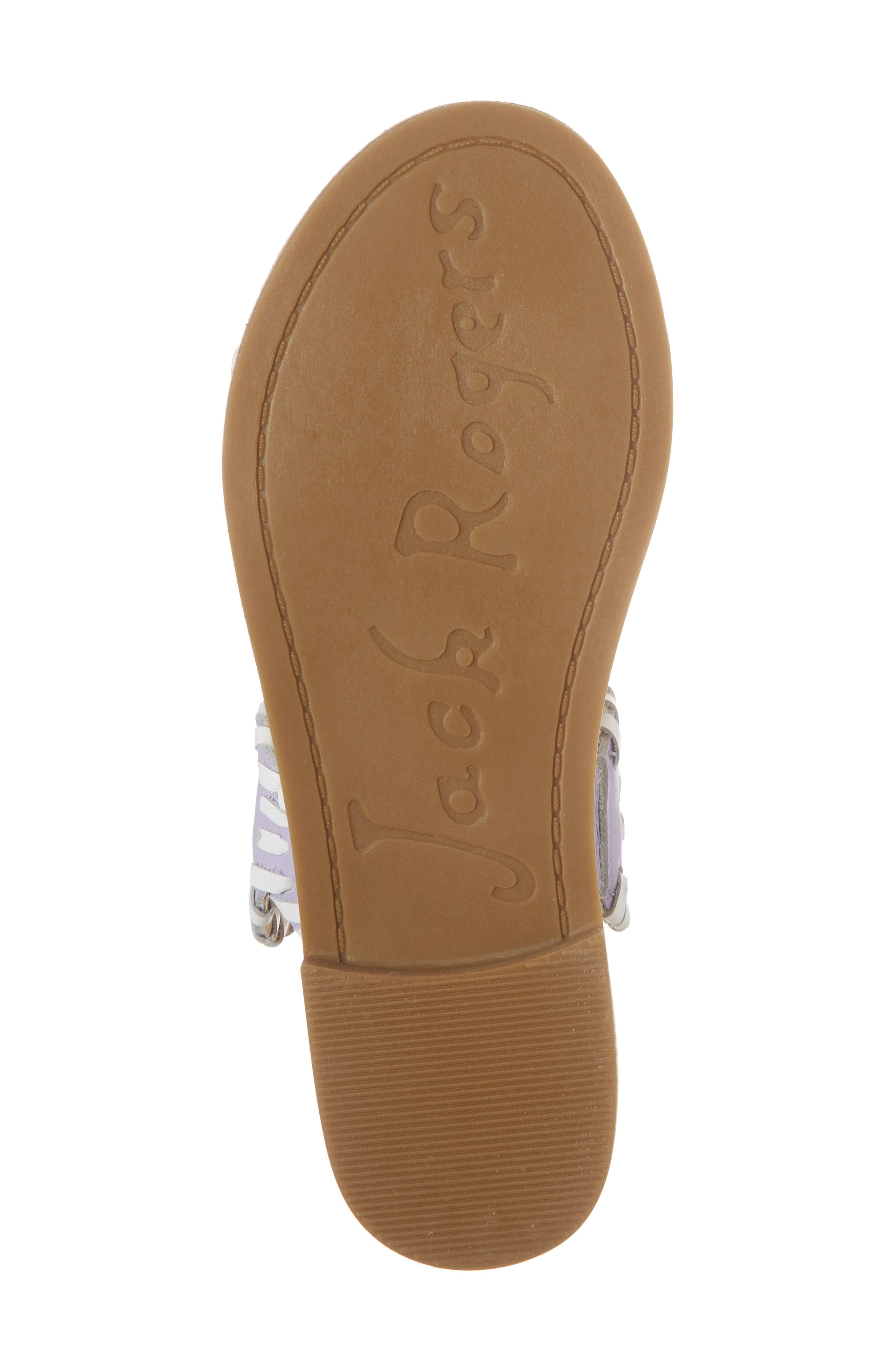 JACK ROGERS, Miss Lauren Sandal, Alternate thumbnail 6, color, LILAC/ WHITE LEATHER