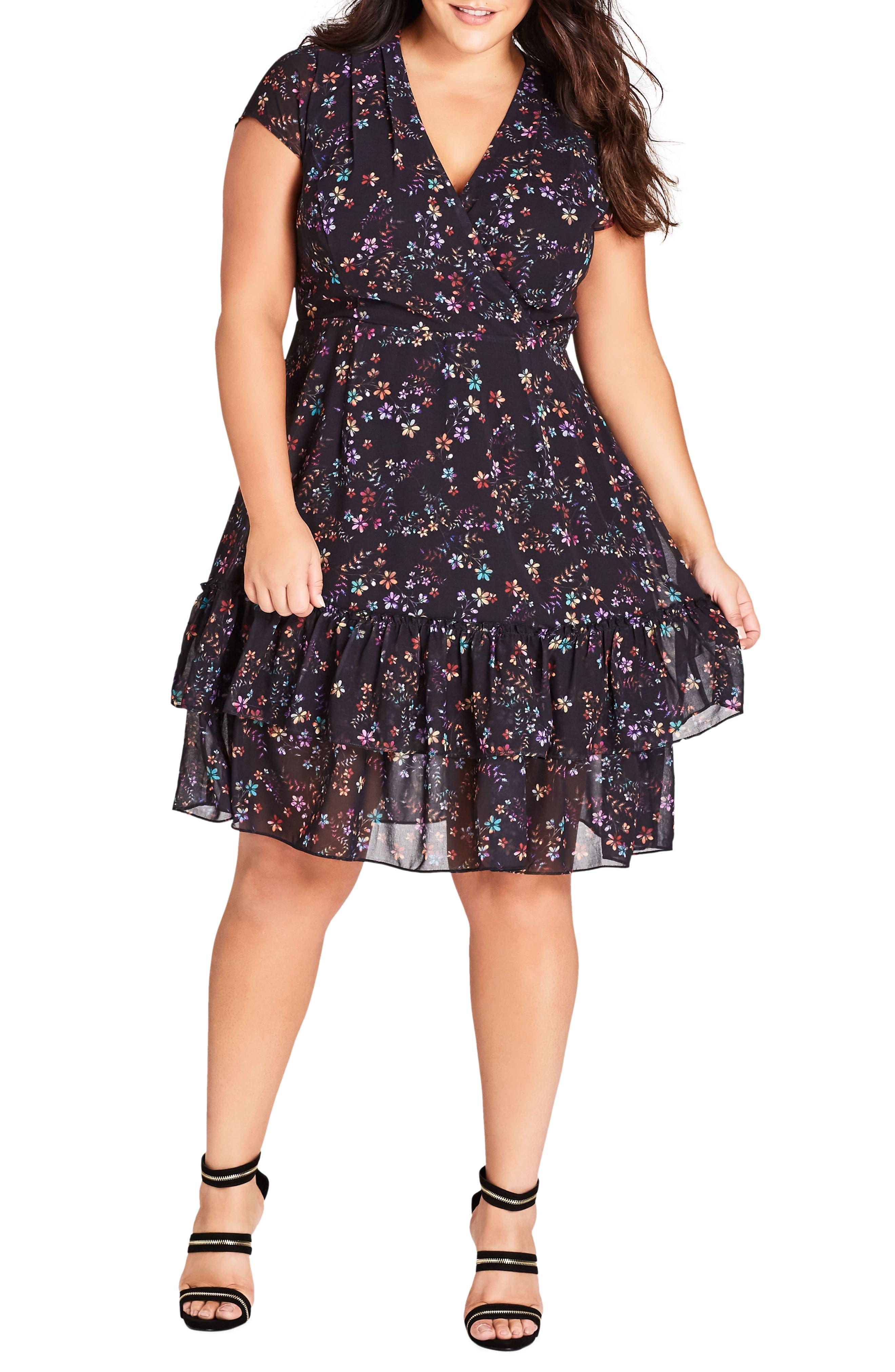 Plus Size City Chic Dreamy Floral Fit & Flare Dress, Black