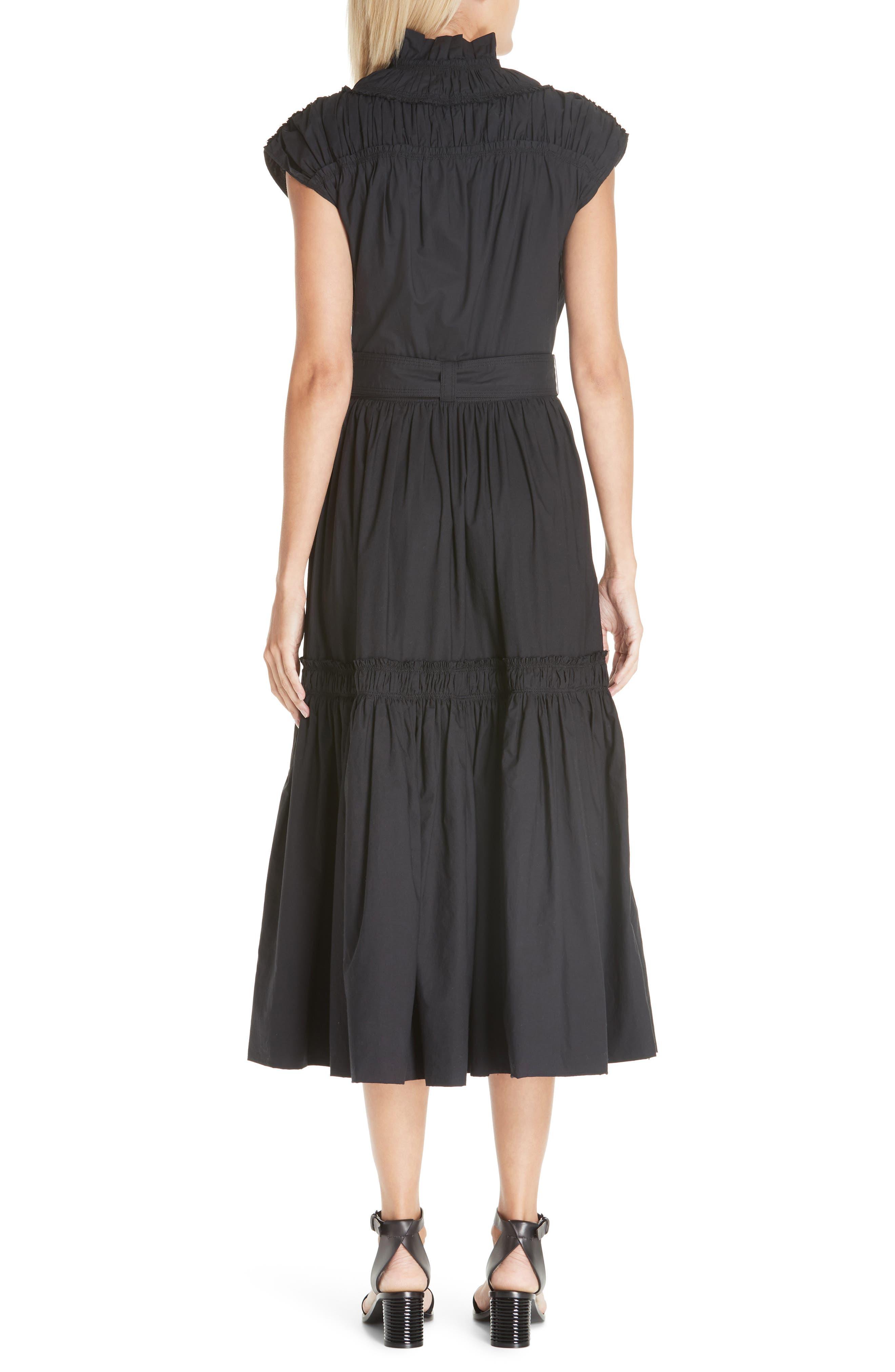 PROENZA SCHOULER, Smocked Poplin Dress, Alternate thumbnail 2, color, BLACK