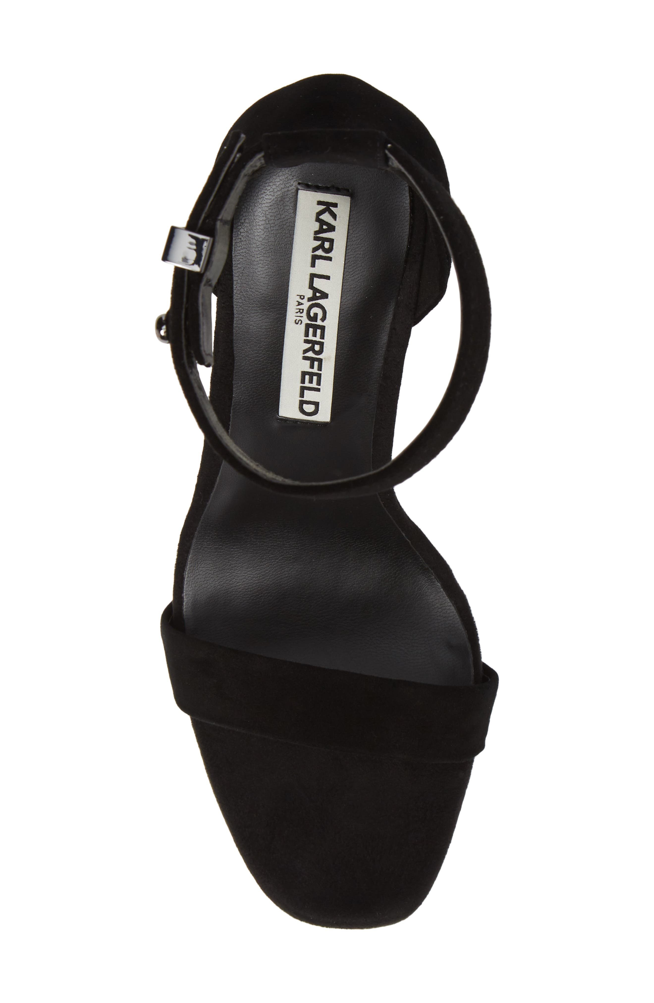 KARL LAGERFELD PARIS, Carah Ankle Strap Sandal, Alternate thumbnail 5, color, BLACK SUEDE