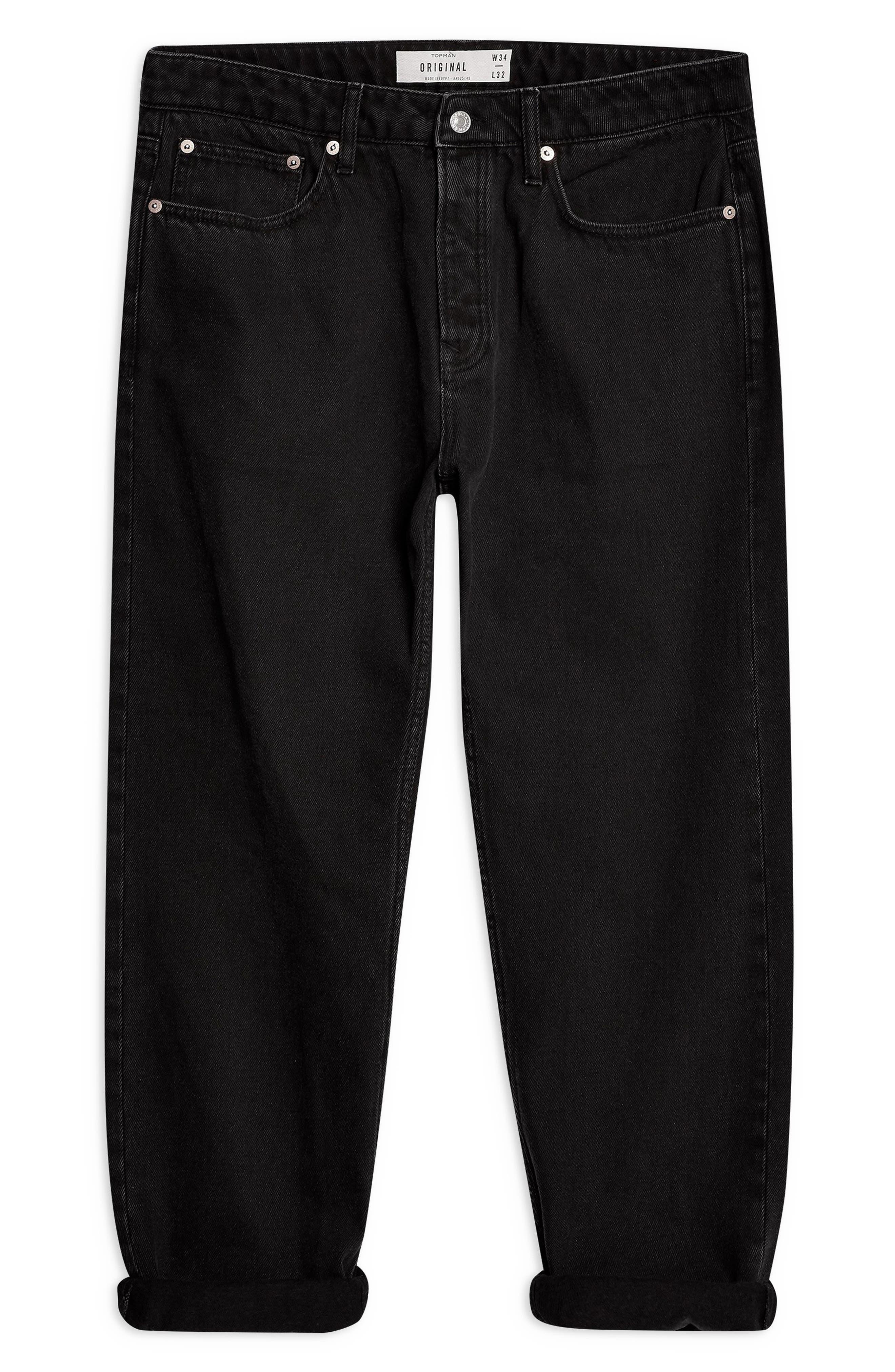 TOPMAN, Larry Original Fit Jeans, Alternate thumbnail 3, color, BLACK