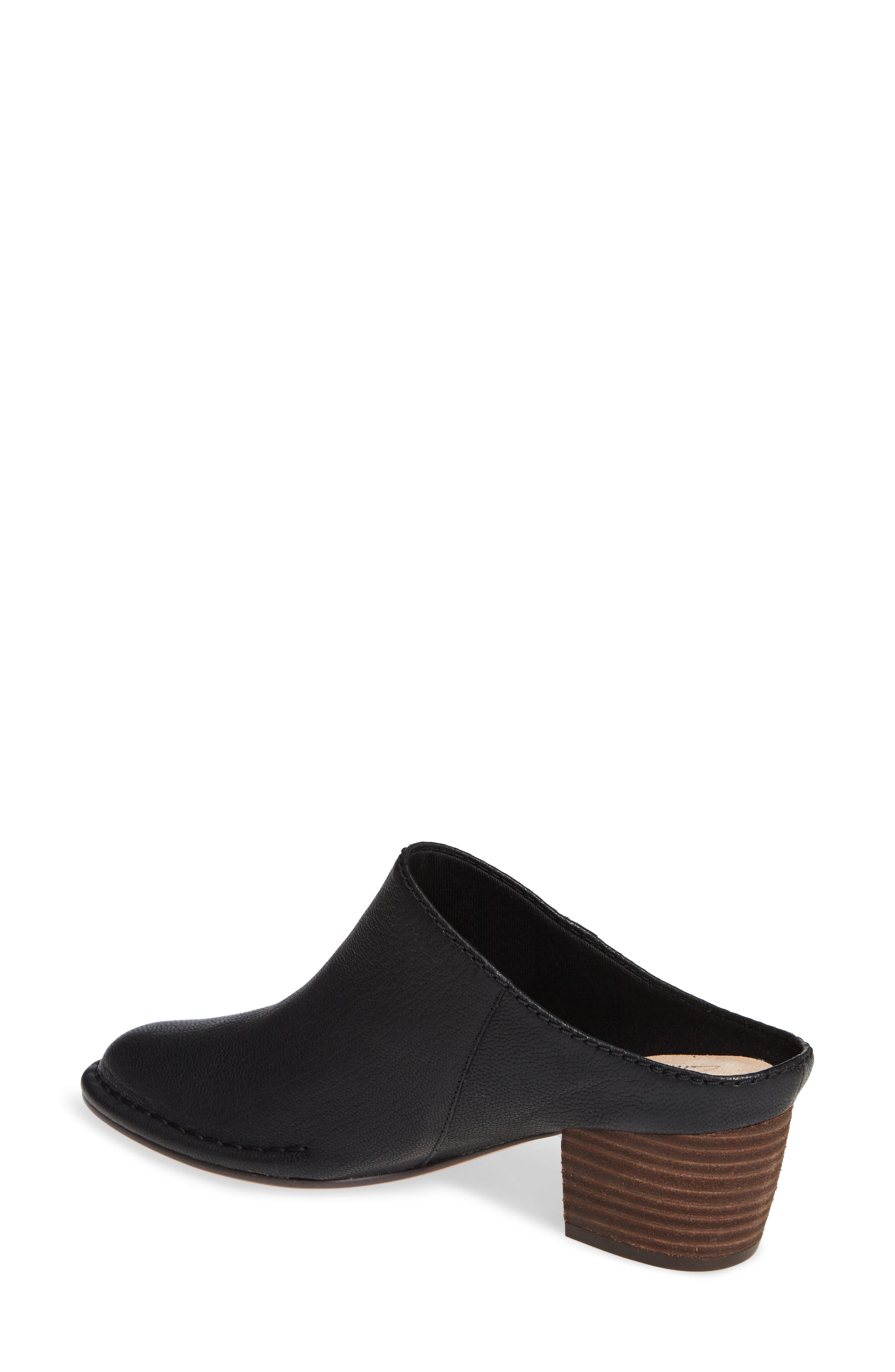 CLARKS<SUP>®</SUP>, Spiced Isla Mule, Alternate thumbnail 2, color, BLACK LEATHER