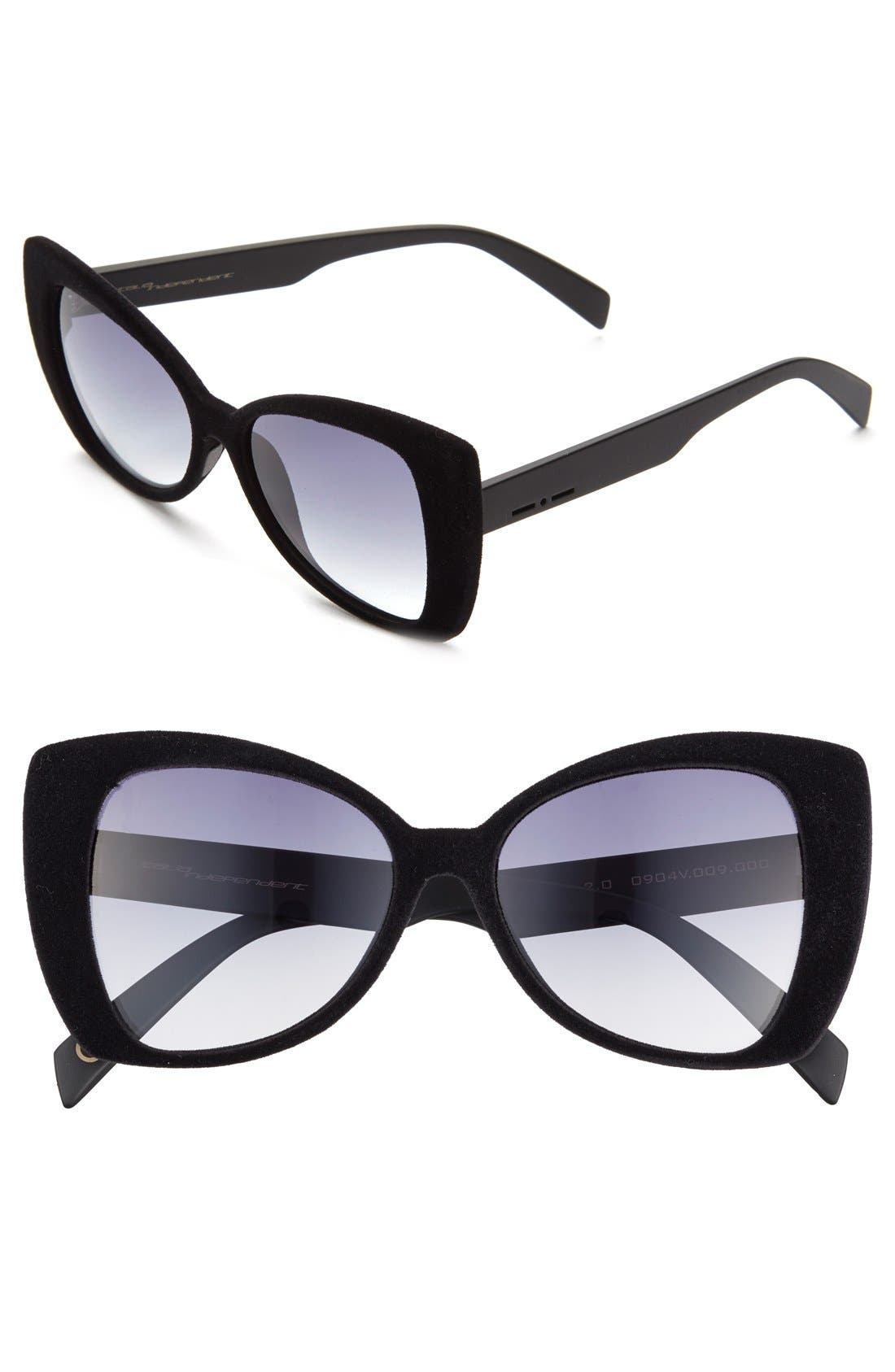 ITALIA INDEPENDENT, 'I-V' 65mm Oversize Butterfly Sunglasses, Main thumbnail 1, color, 001