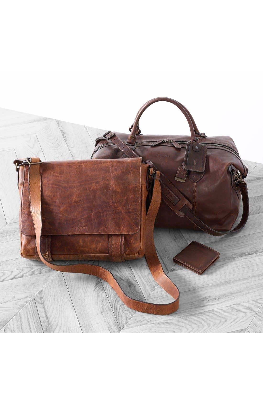 FRYE, 'Logan' Leather Billfold Wallet, Alternate thumbnail 4, color, SLATE