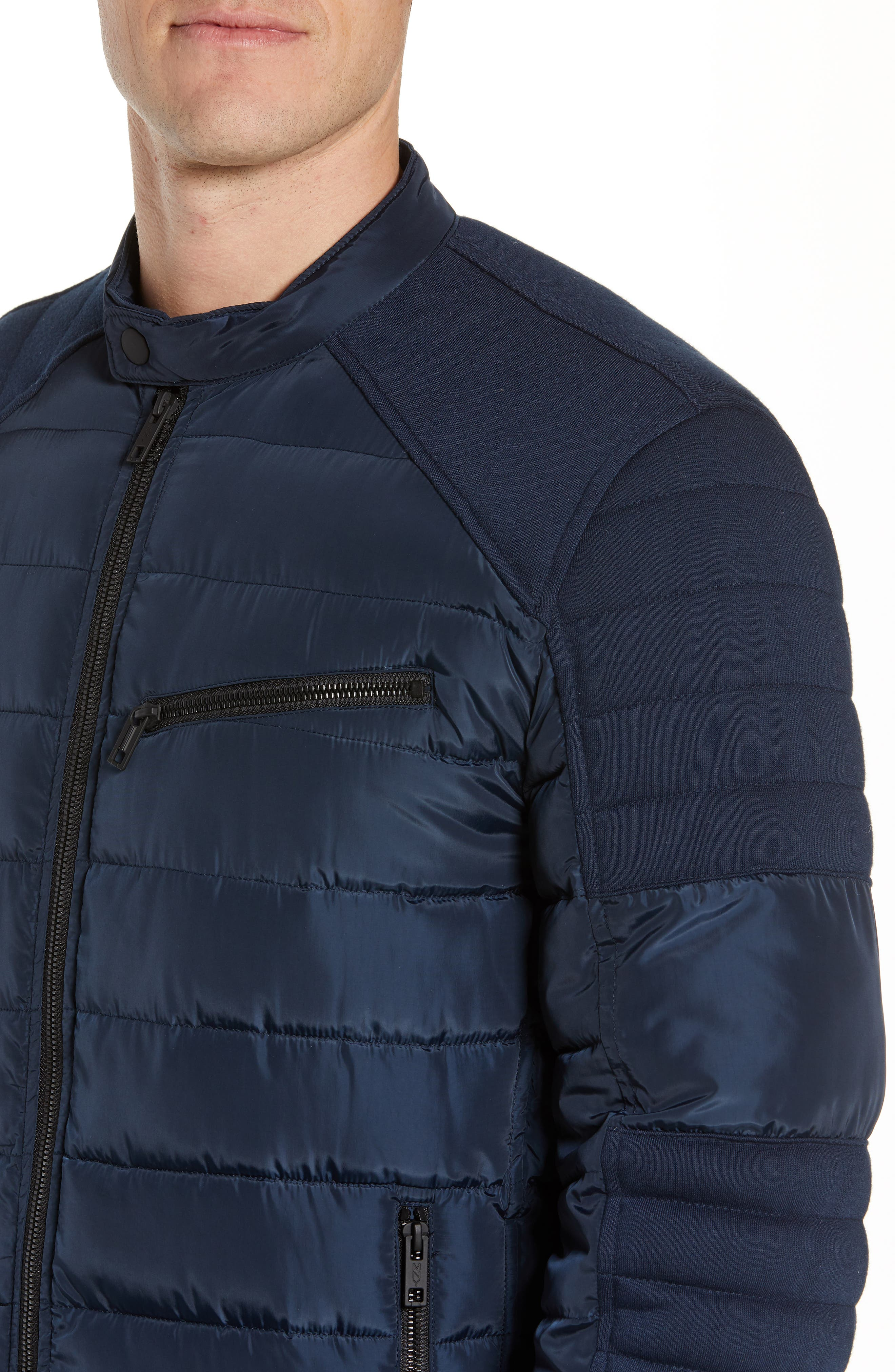 MARC NEW YORK, Wilsow Quilted Moto Jacket, Alternate thumbnail 4, color, NAVY