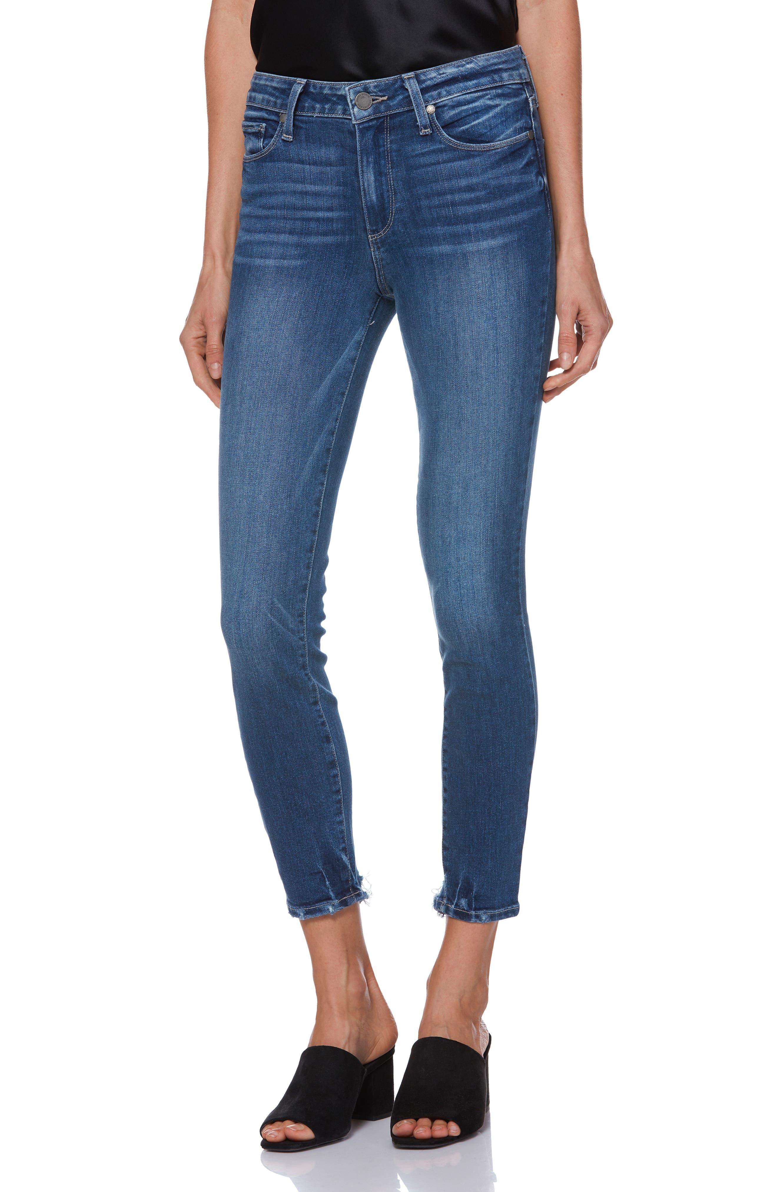 PAIGE, Hoxton Transcend Vintage High Waist Crop Skinny Jeans, Main thumbnail 1, color, 400