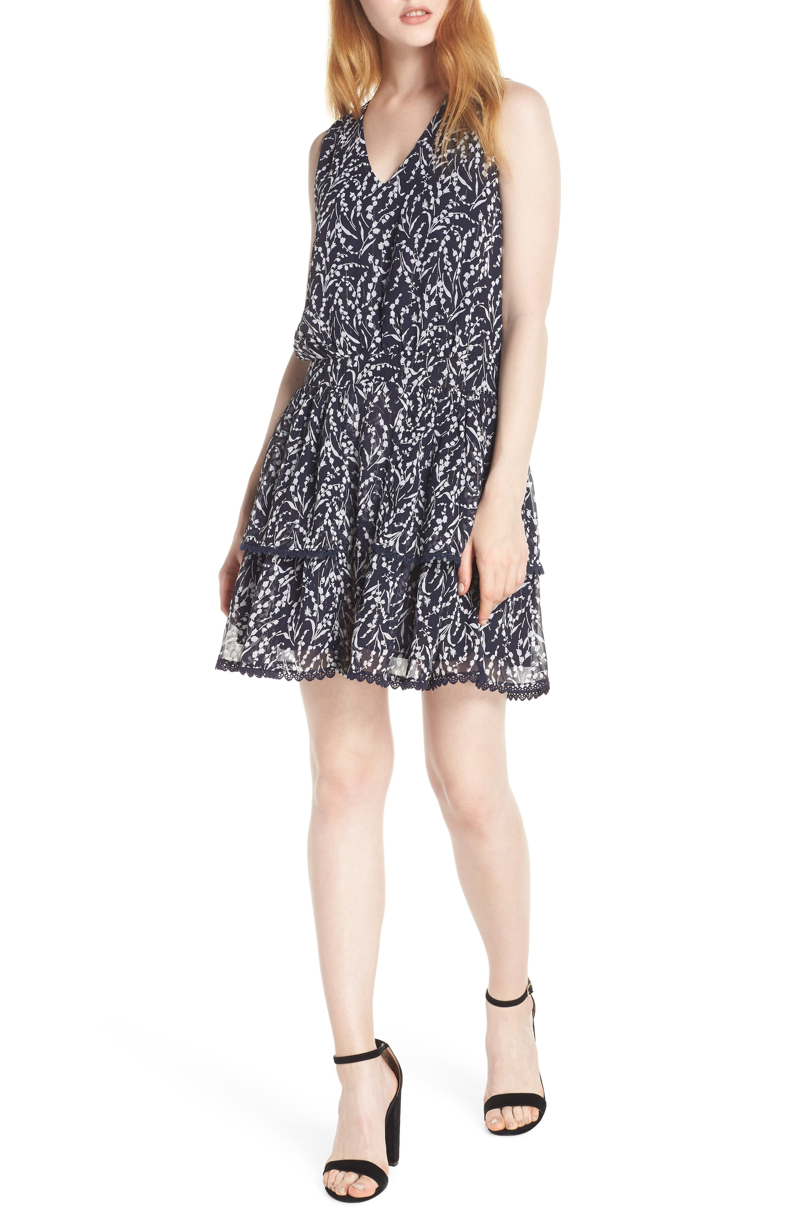 19 COOPER, Tiered Floral Sleeveless Dress, Main thumbnail 1, color, NAVY/ WHITE