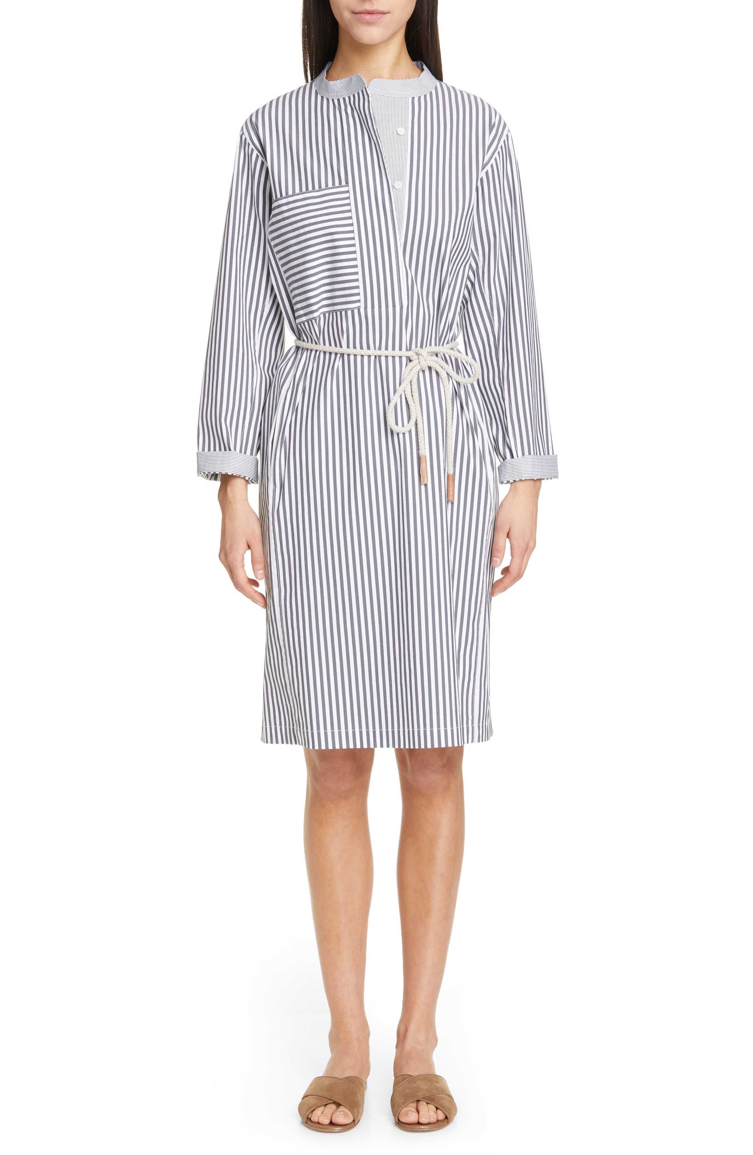 LAFAYETTE 148 NEW YORK, Rexana Stripe Long Sleeve Belted Shirtdress, Main thumbnail 1, color, ASH MULTI