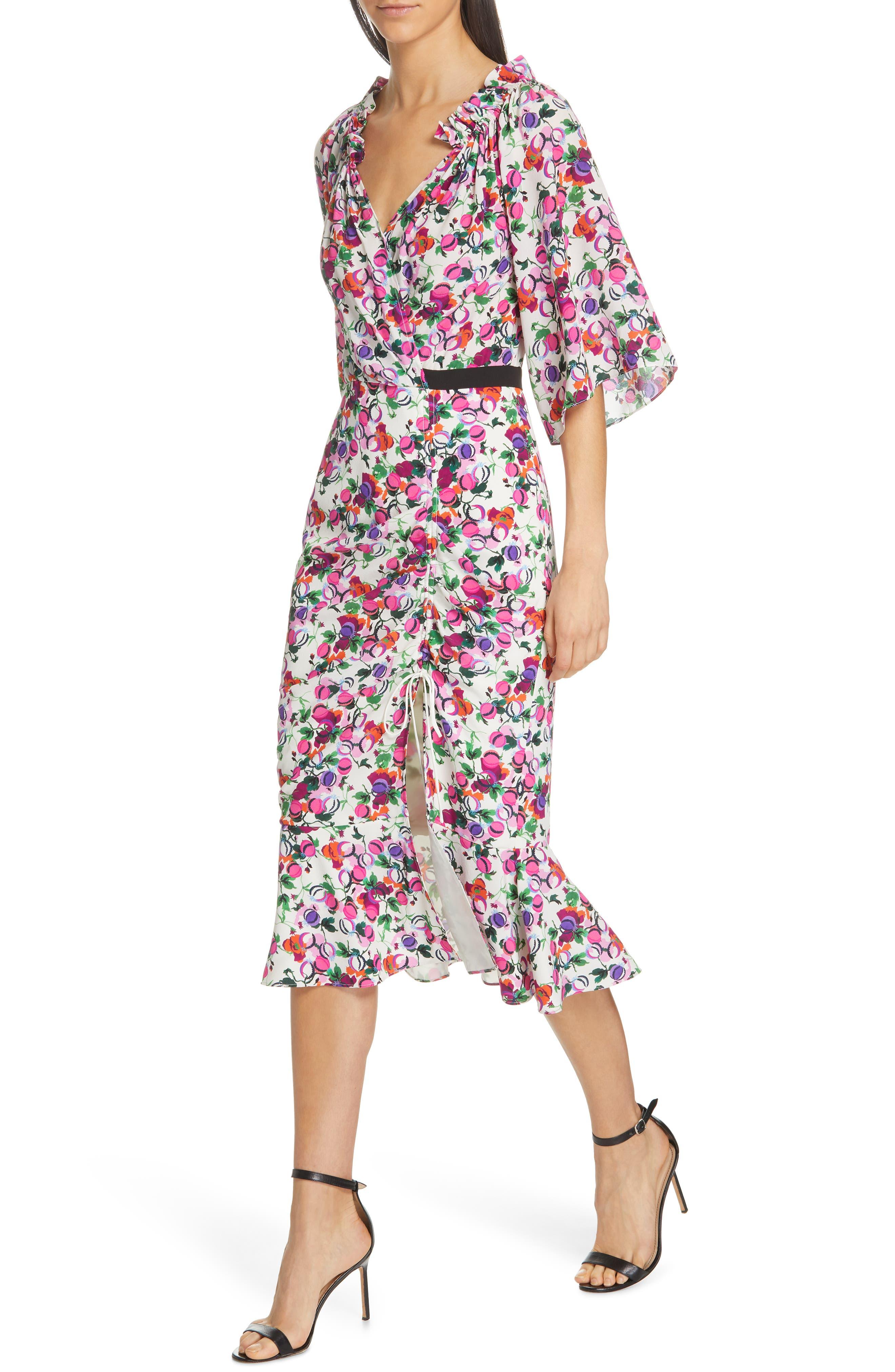 SALONI, Olivia Floral Print Off the Shoulder Midi Dress, Alternate thumbnail 4, color, ROSE BOUNTY BLACK