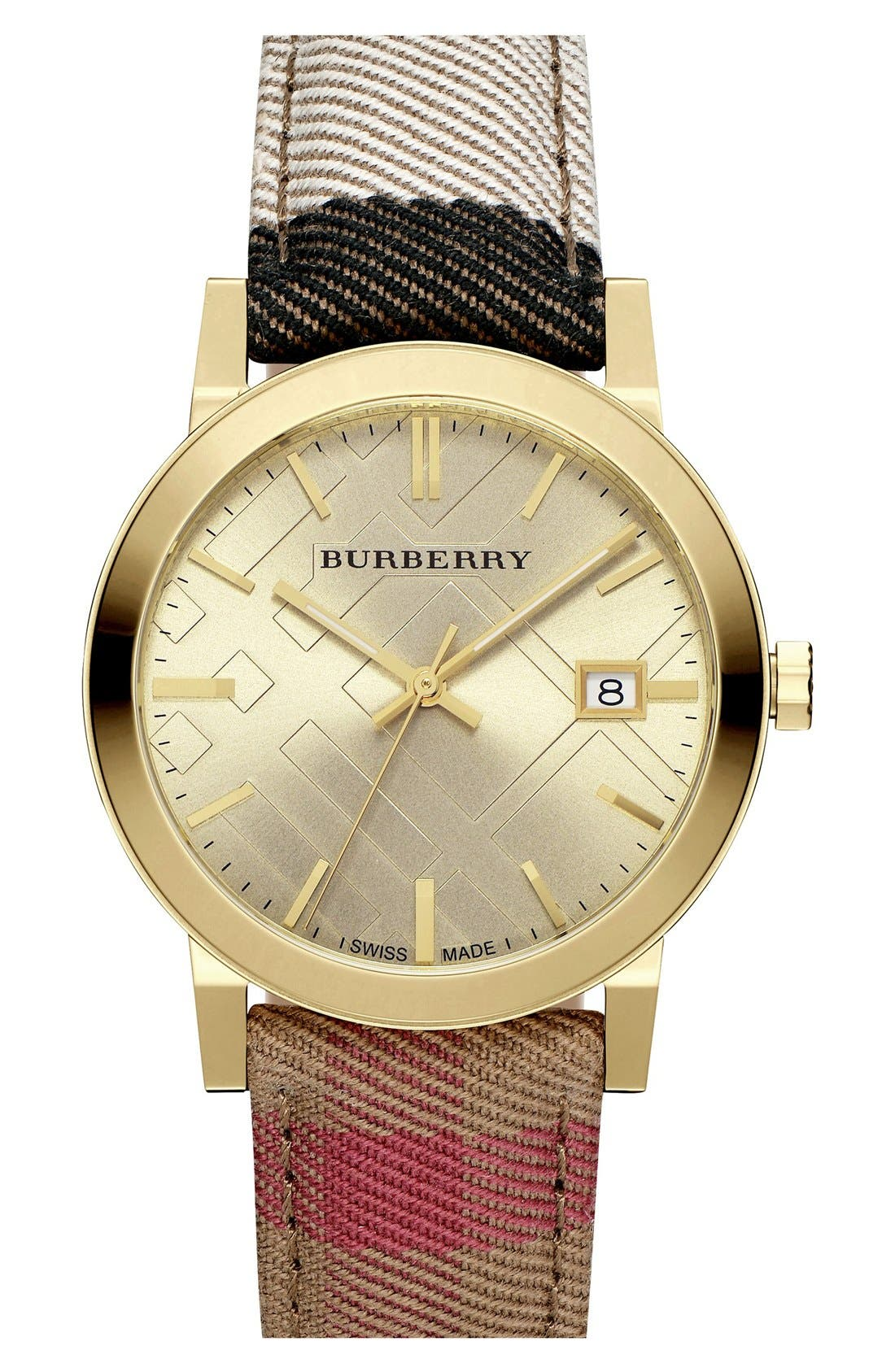 BURBERRY, 'The City' Woven Strap Watch, 38mm, Main thumbnail 1, color, 001