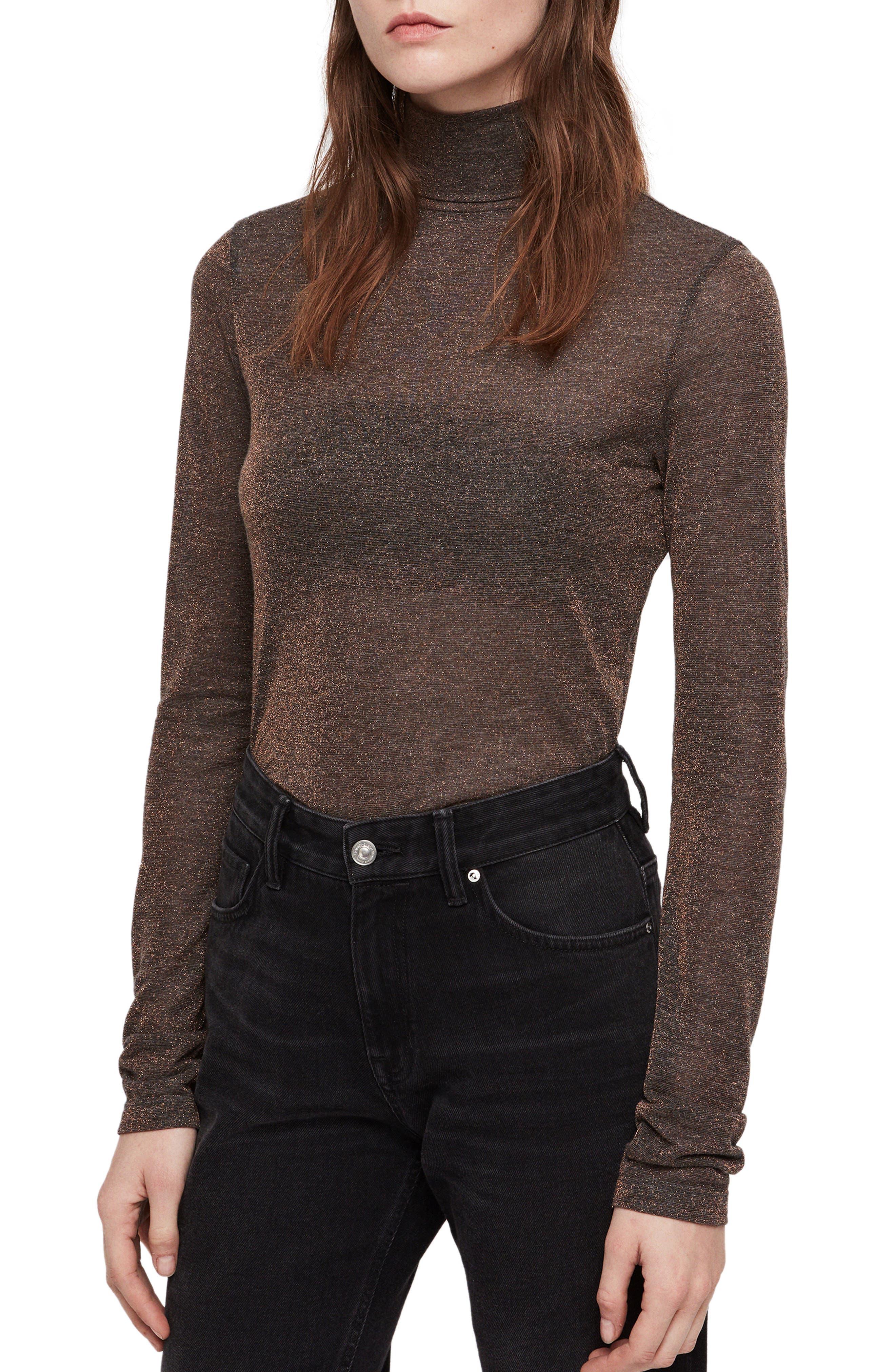 ALLSAINTS Esme Turtleneck Sweater, Main, color, BLACK