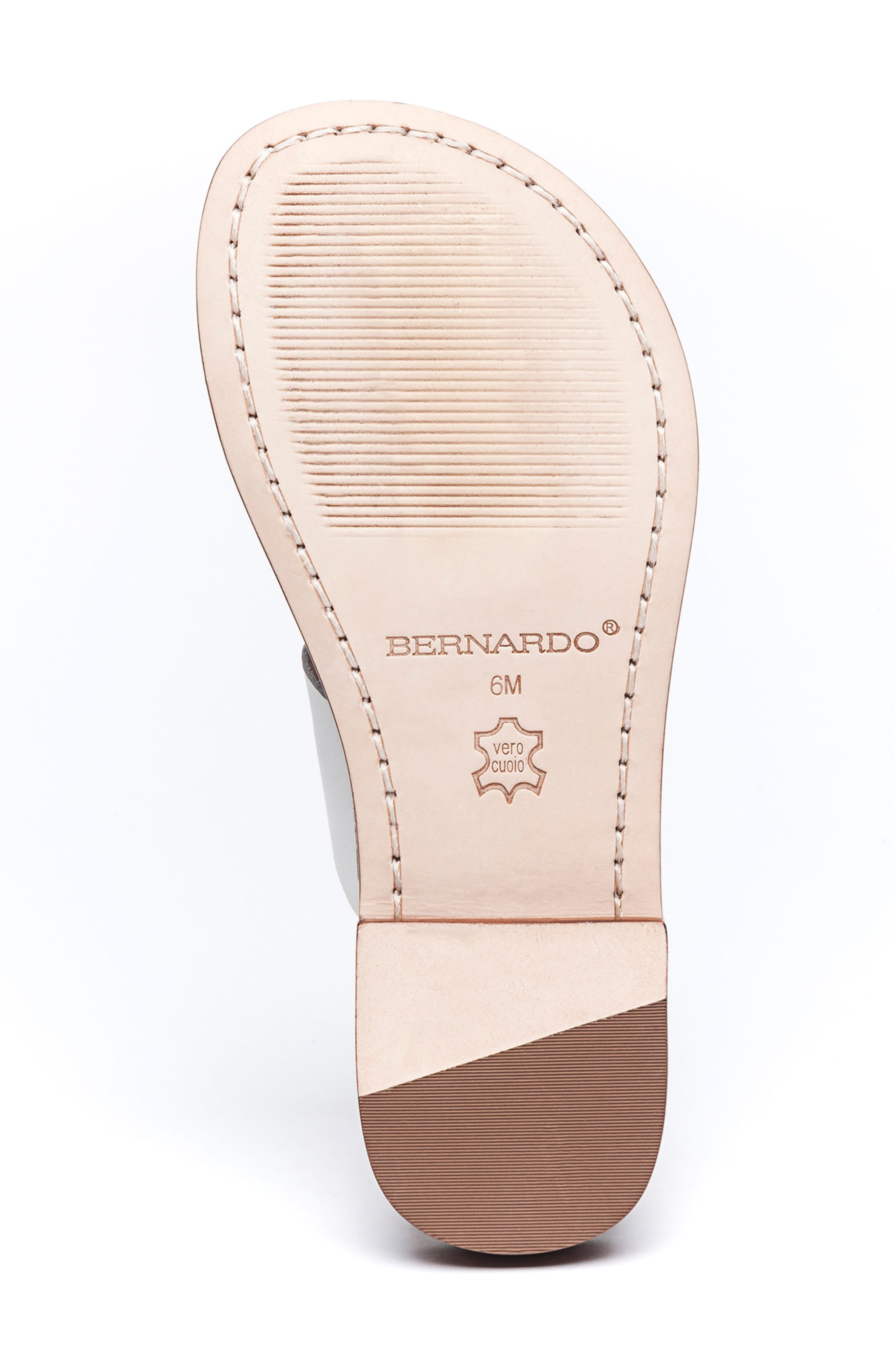 BERNARDO, Tia Sandal, Alternate thumbnail 6, color, WHITE/ BLACK/ LUGGAGE LEATHER