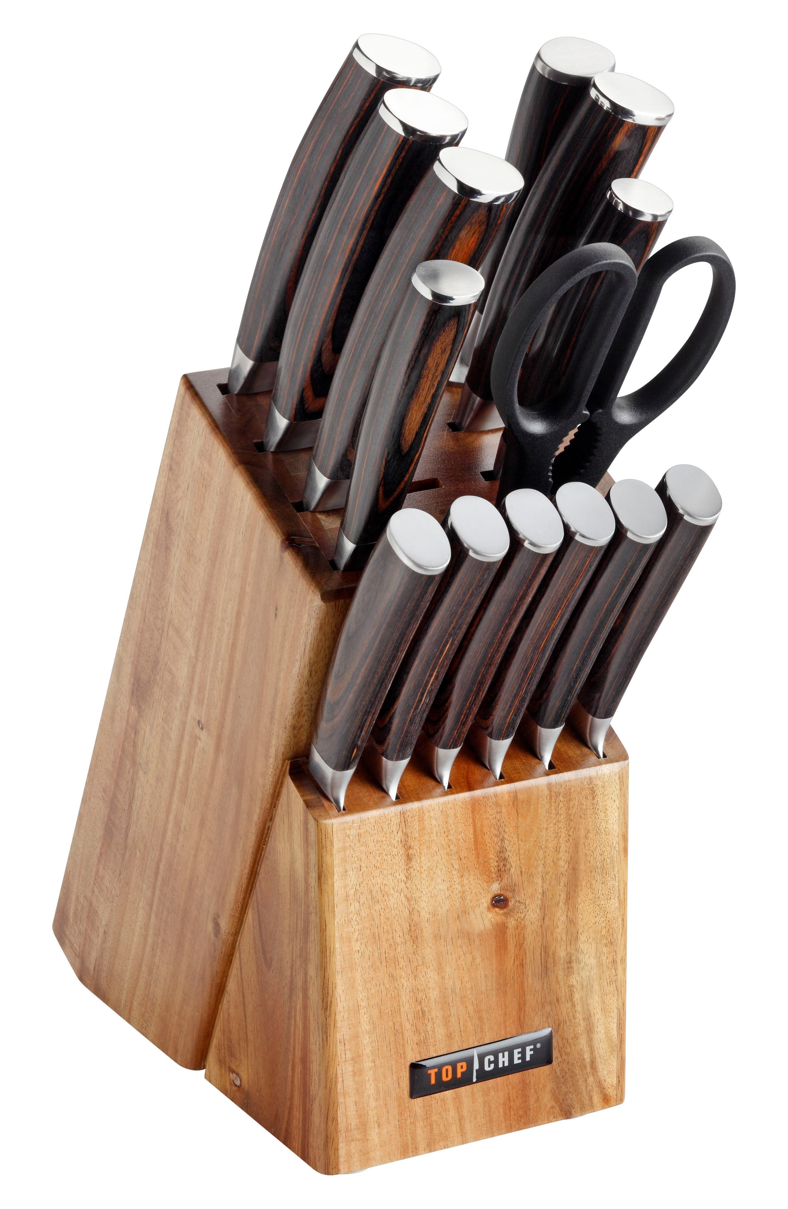 TOP CHEF, Dynasty 15-Piece Knife Block Set, Main thumbnail 1, color, BROWN