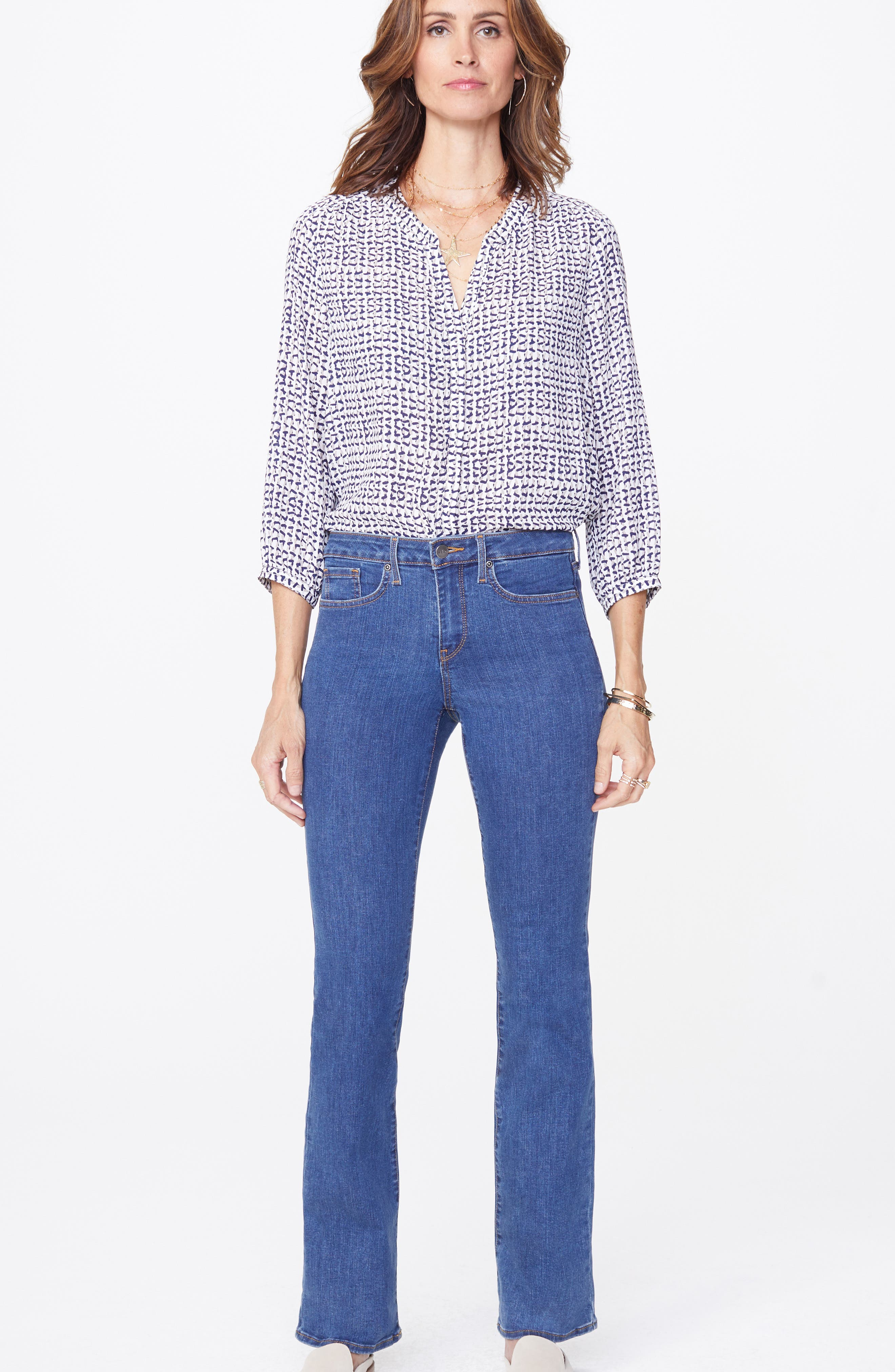 NYDJ, Barbara Stretch Bootcut Jeans, Alternate thumbnail 5, color, BATIK BLUE