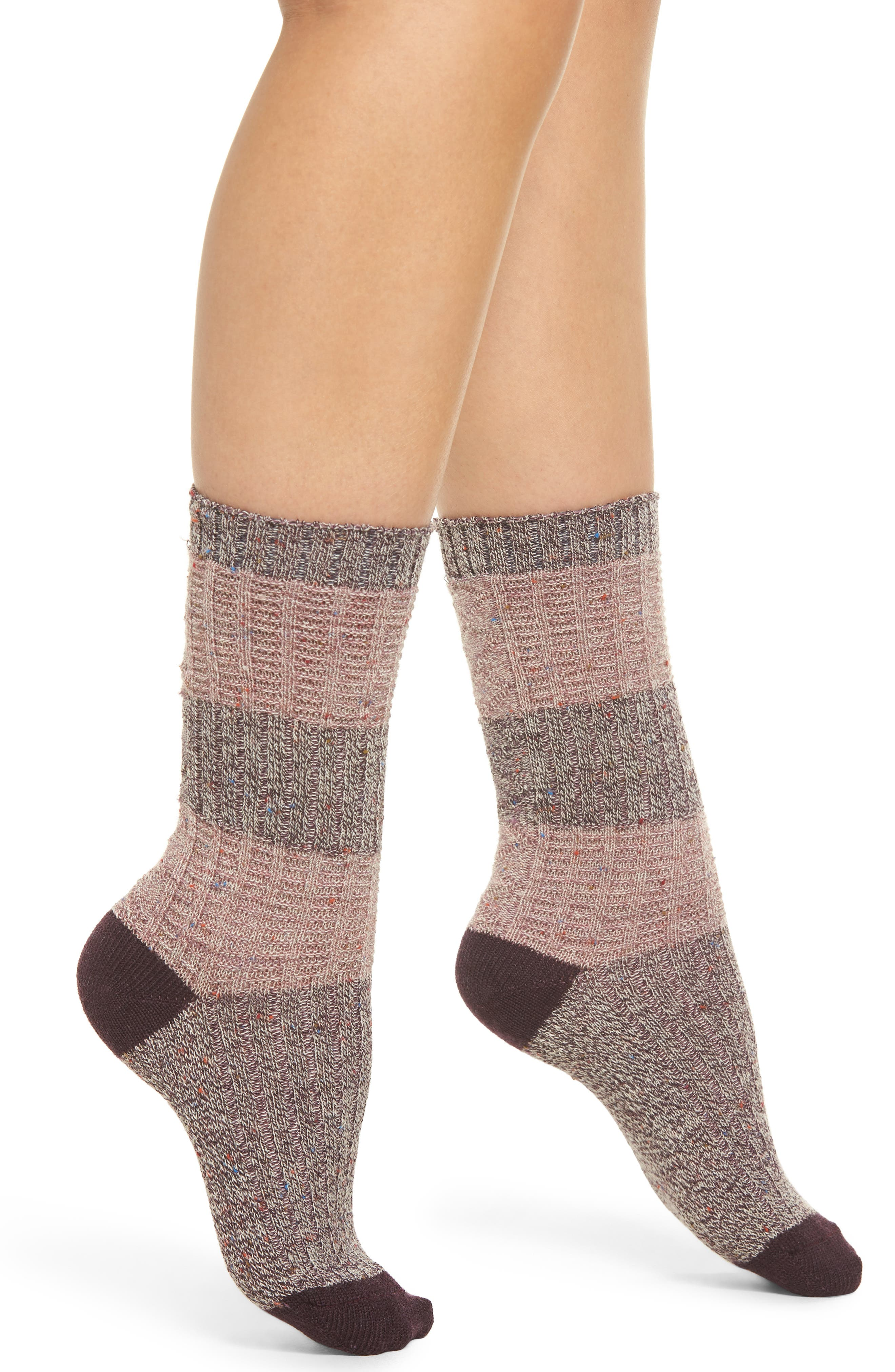 SMARTWOOL, Diamond Bella Premium Crew Socks, Main thumbnail 1, color, BORDEAUX HEATHER