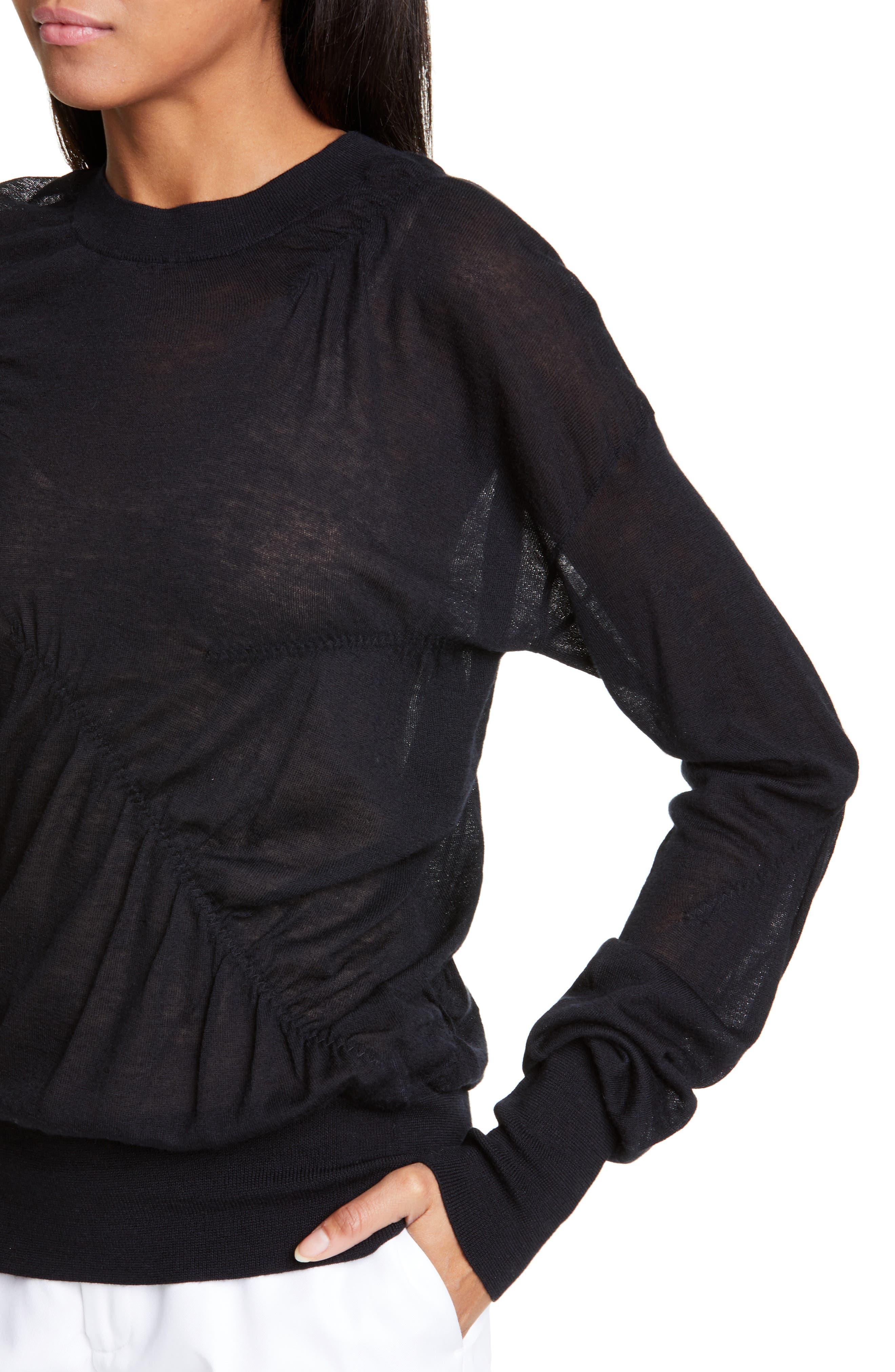 HELMUT LANG, Ruched Seam Detail Cashmere Sweater, Alternate thumbnail 4, color, BLACK