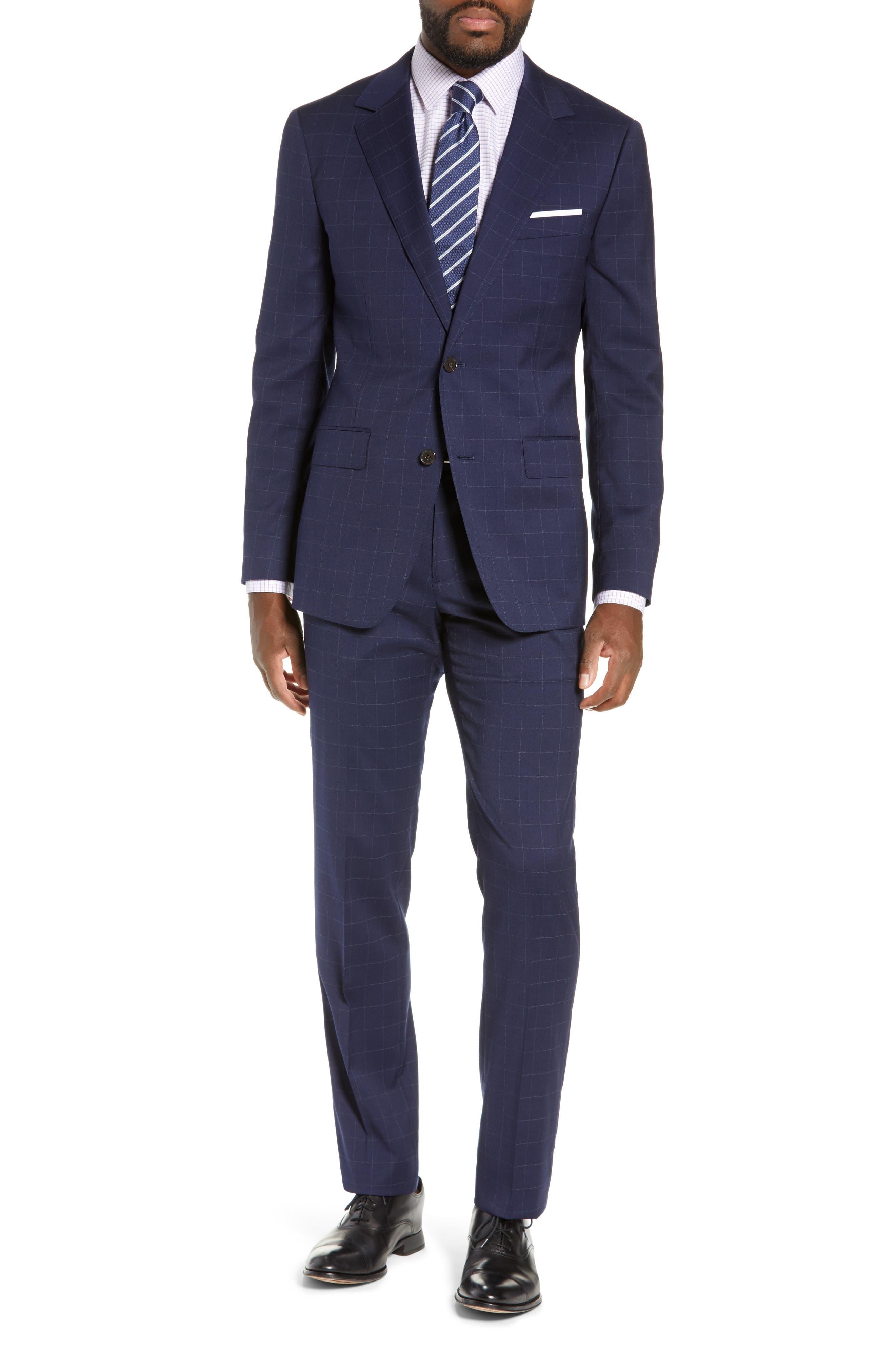 BONOBOS, Jetsetter Slim Fit Stretch Suit Pants, Alternate thumbnail 7, color, NAVY CHALK WINDOWPANE