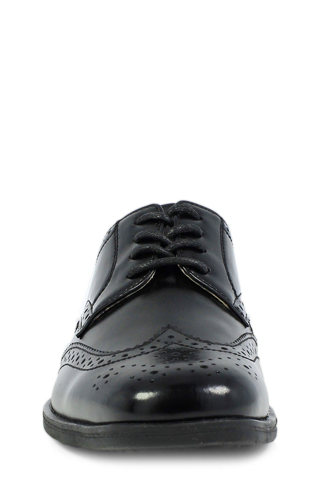 FLORSHEIM, 'Reveal' Wingtip Oxford, Alternate thumbnail 5, color, BLACK LEATHER