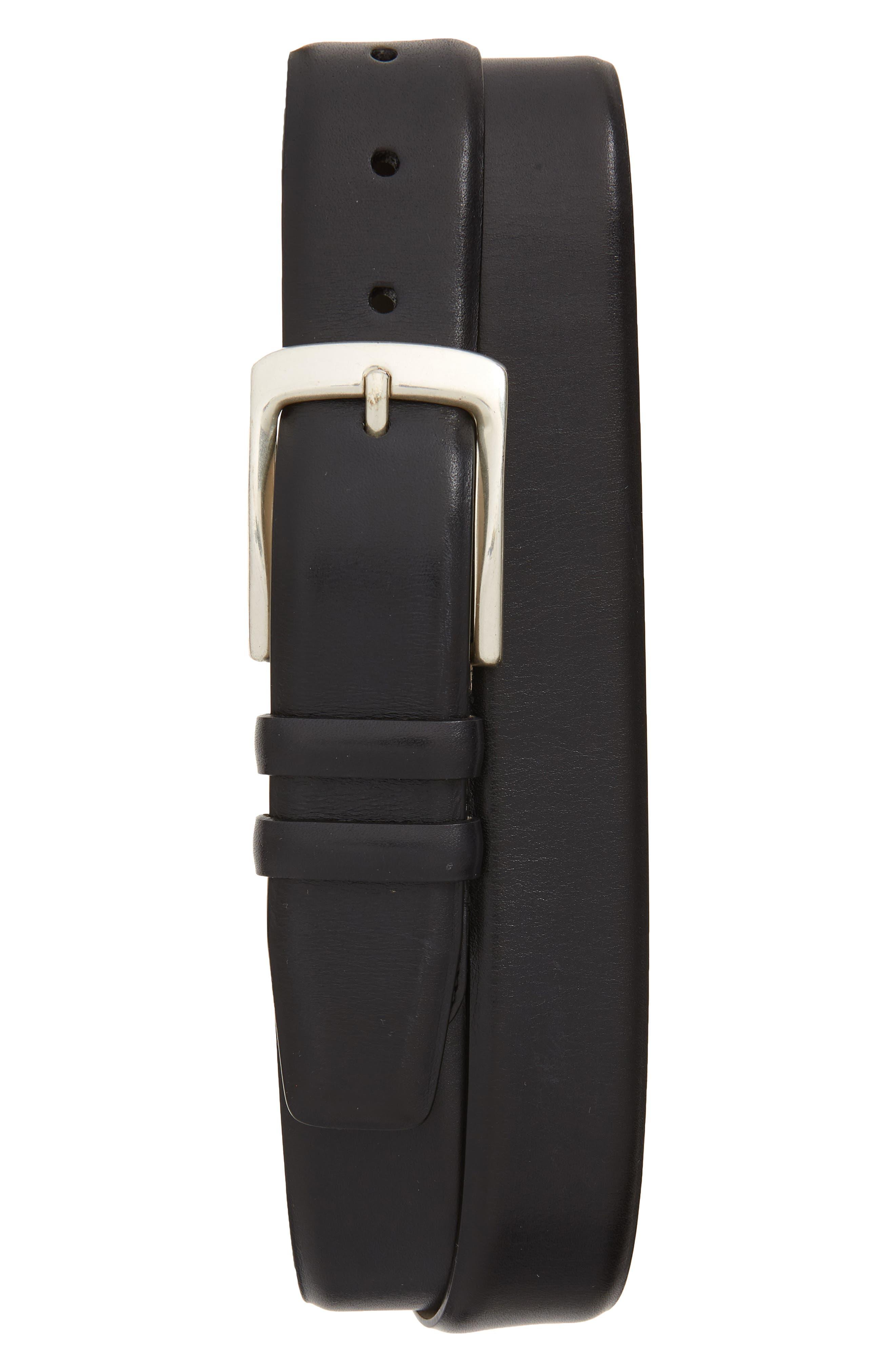 MEZLAN, Rama Leather Belt, Main thumbnail 1, color, BLACK
