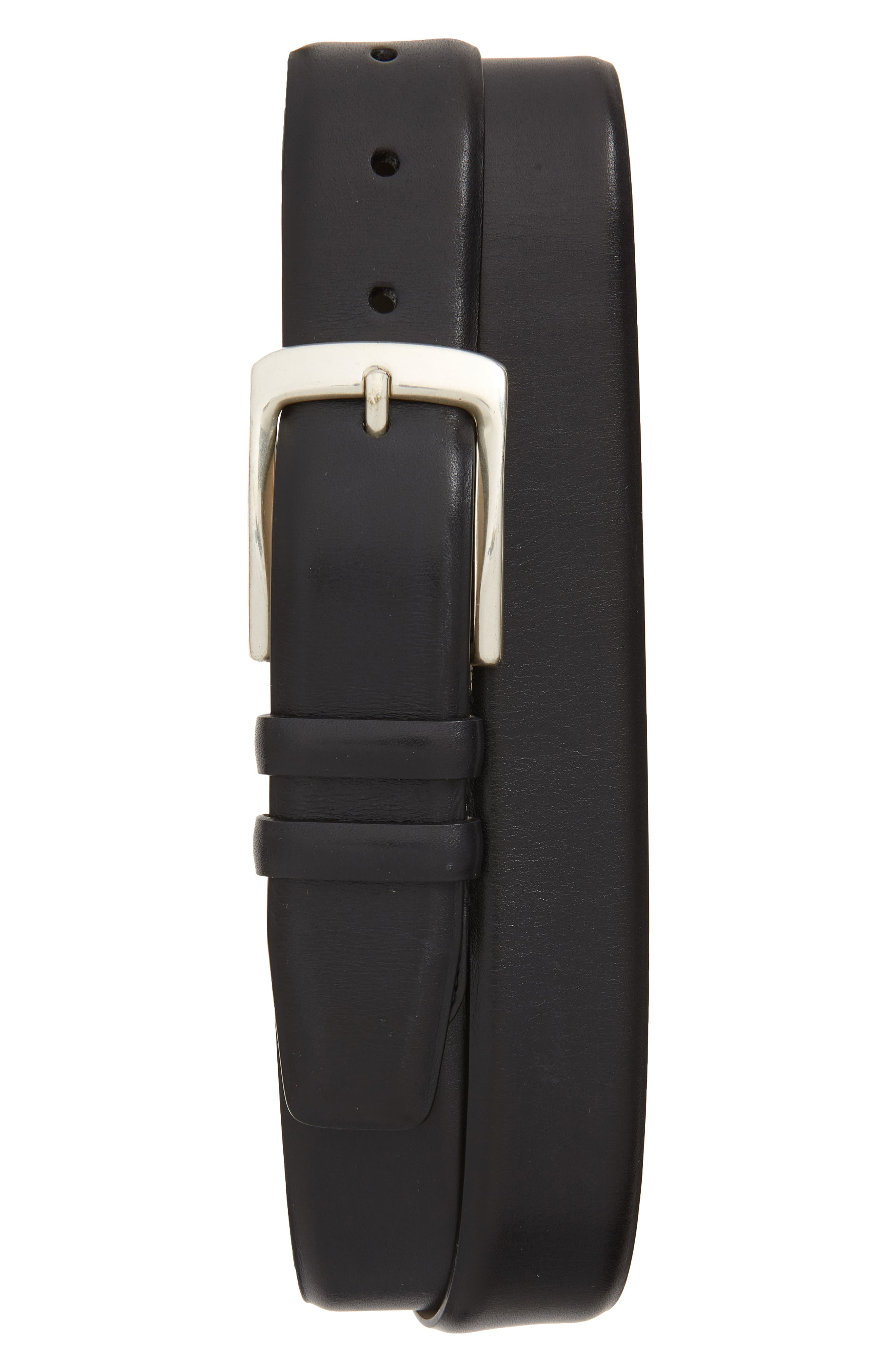 MEZLAN Rama Leather Belt, Main, color, BLACK