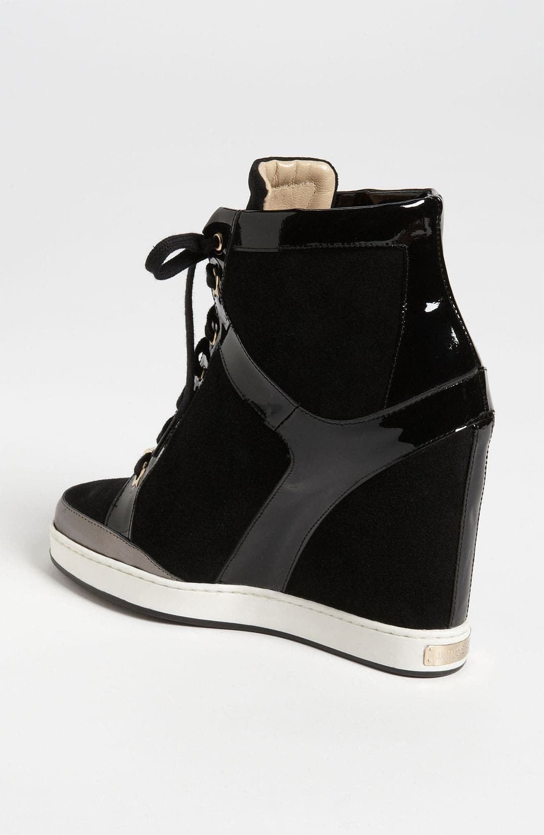 JIMMY CHOO, 'Panama' Wedge Sneaker, Alternate thumbnail 3, color, 001