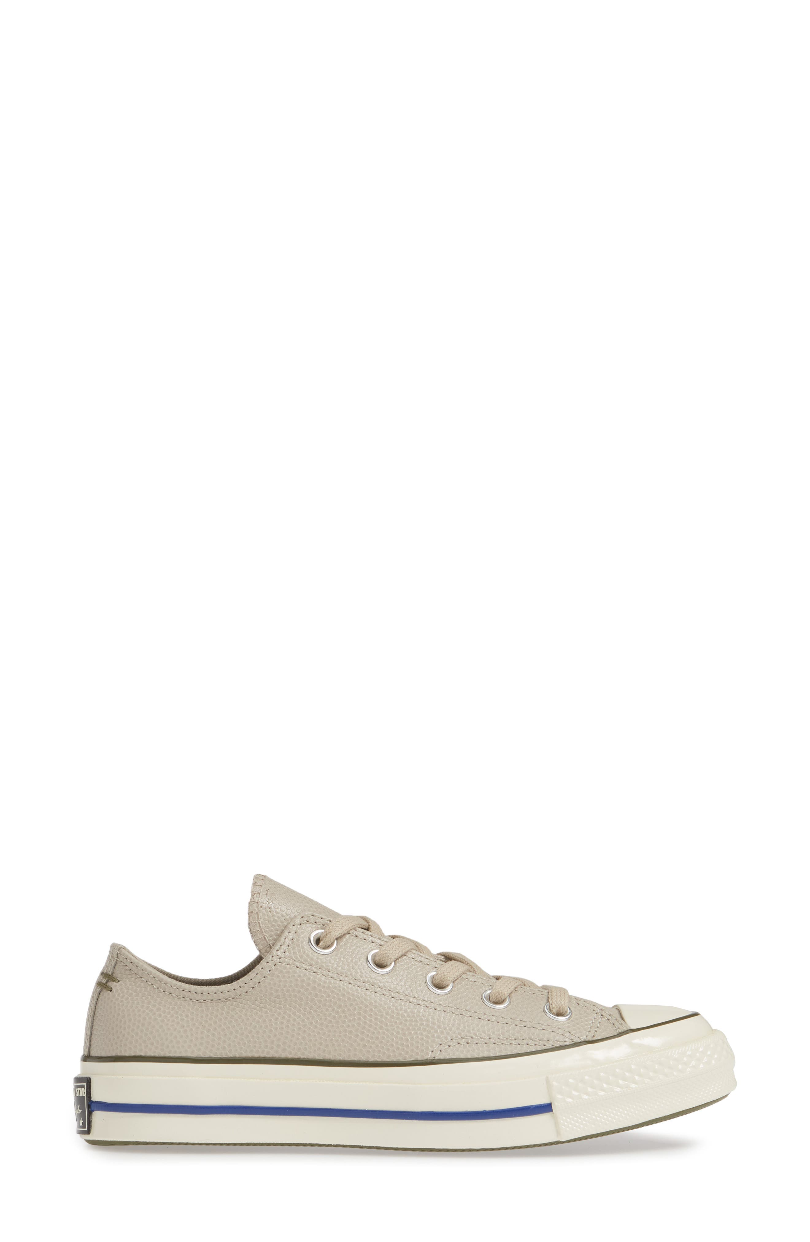 CONVERSE, Chuck Taylor<sup>®</sup> All Star<sup>®</sup> Chuck 70 Ox Leather Sneaker, Alternate thumbnail 3, color, PAPYRUS/ FIELD SURPLUS/ EGRET