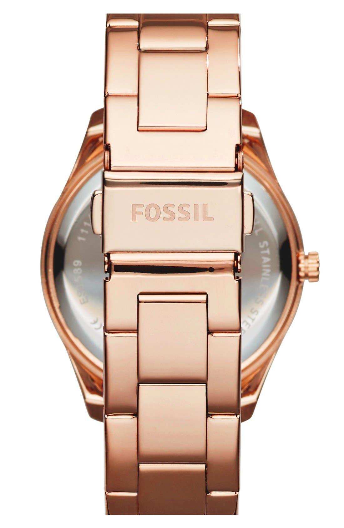 FOSSIL, 'Stella' Crystal Bezel Multifunction Bracelet Watch, 38mm, Alternate thumbnail 2, color, ROSE GOLD