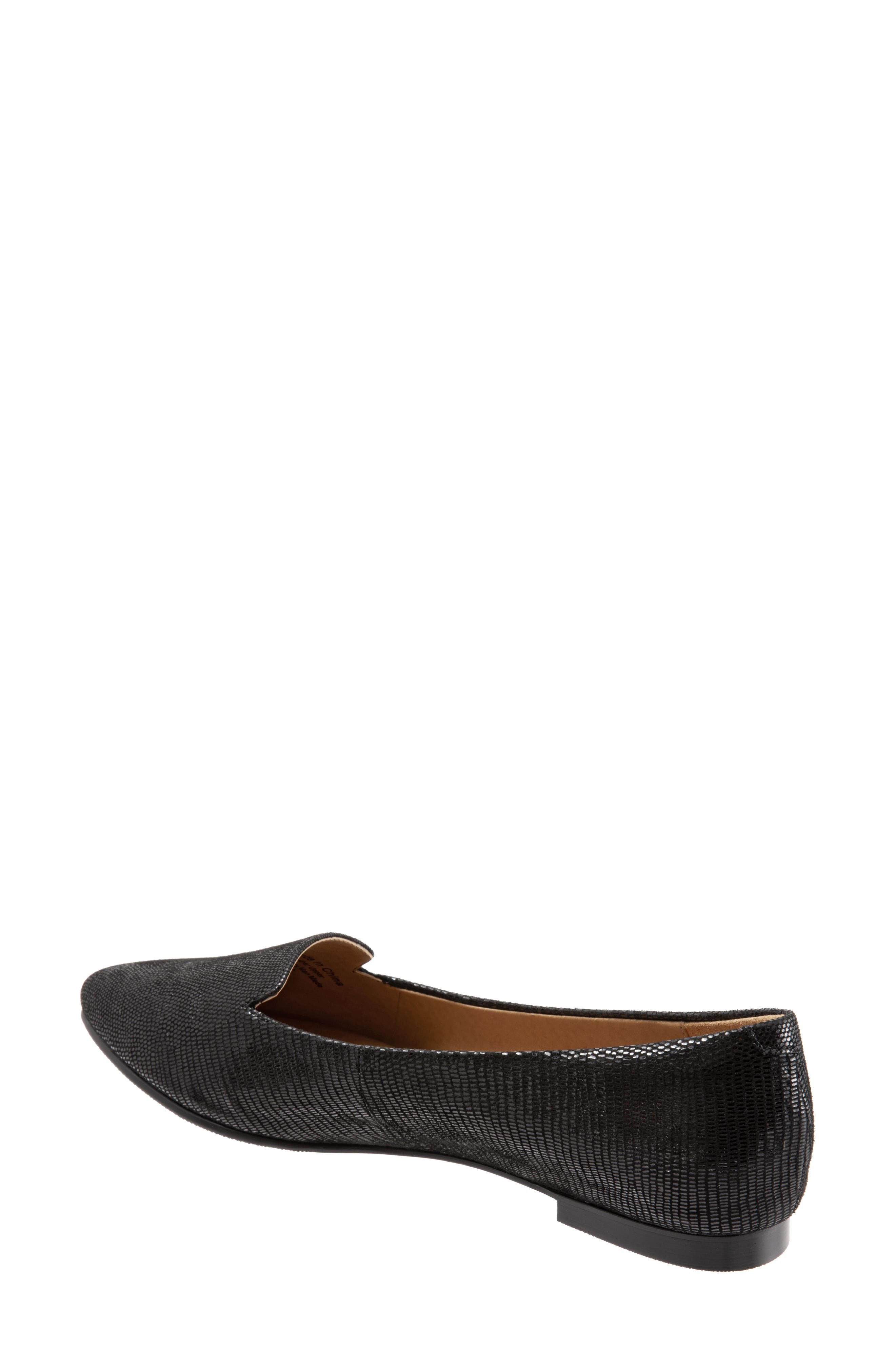 TROTTERS, Harlowe Pointy Toe Loafer, Alternate thumbnail 2, color, DARK BLACK LEATHER